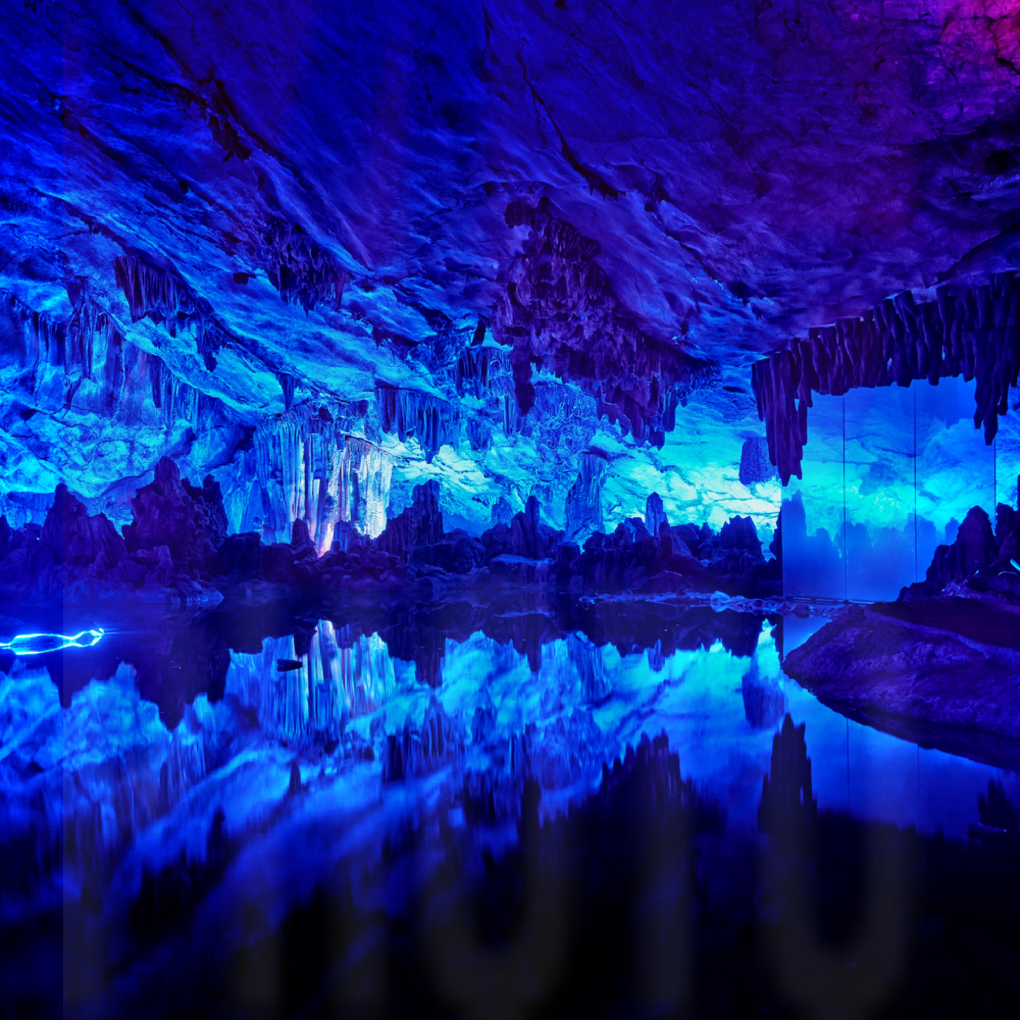 Reed flute cave %e7%9b%a7%e7%ac%9b%e5%b2%a9 blue light reflection xiiiab