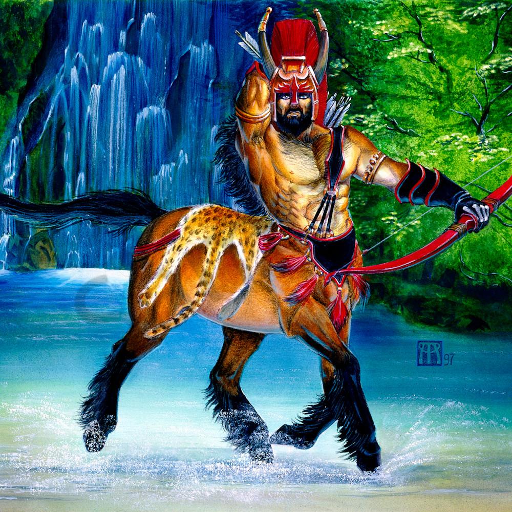 Centaur warden in waterfall qiwmns