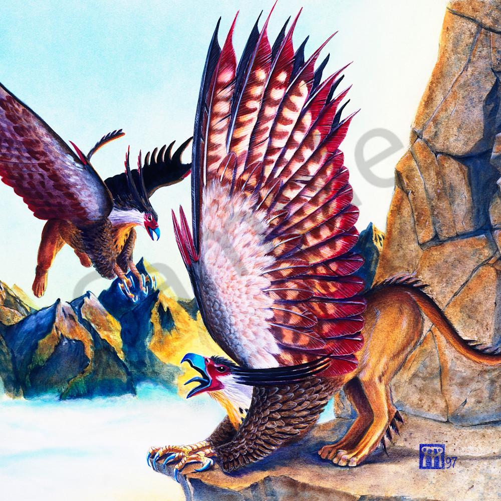 Griffins on cliff eeo7jw