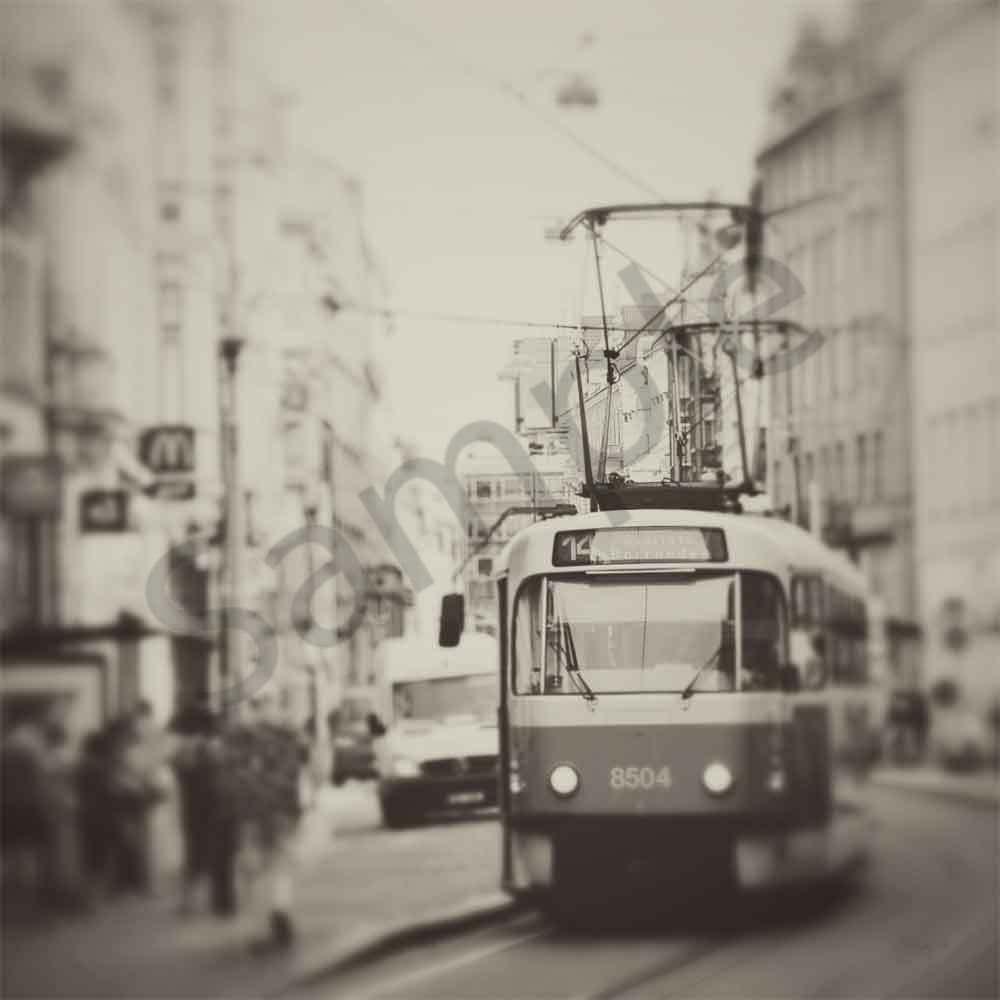 Prague tram sepia fz8xzh