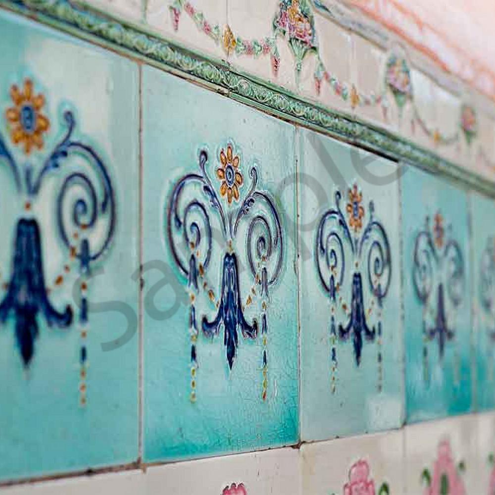 Blue ceramic tiles with signature bcnnip