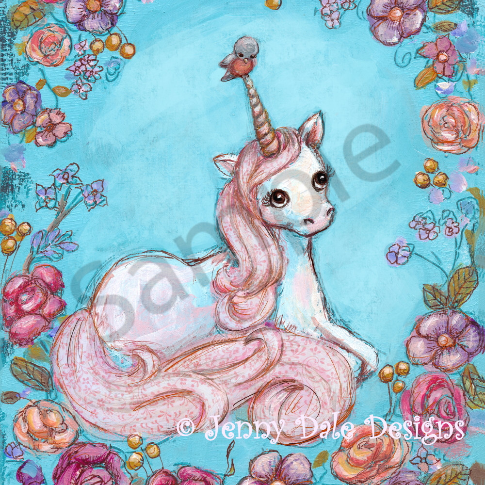 Samplefloral unicorn and bird pink mane oiip98