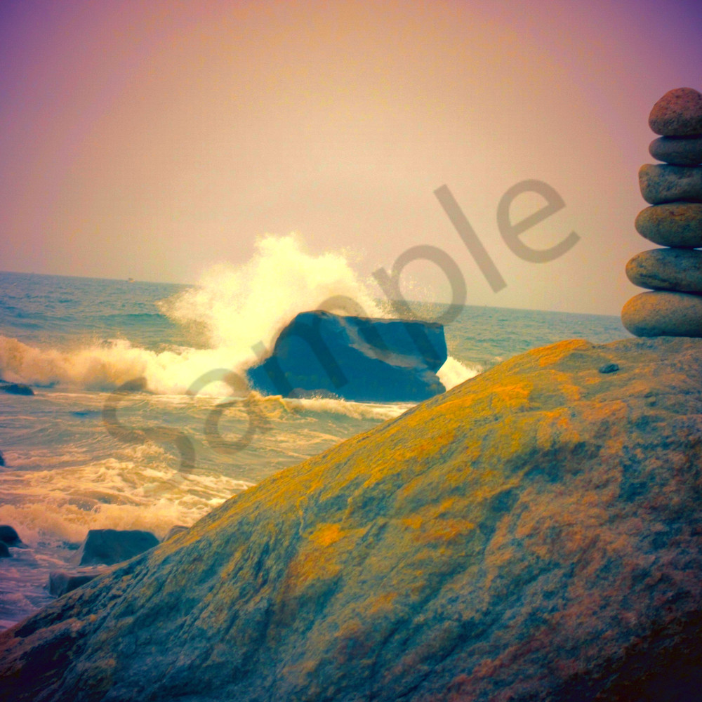 Cairn and crashing wave y4advc