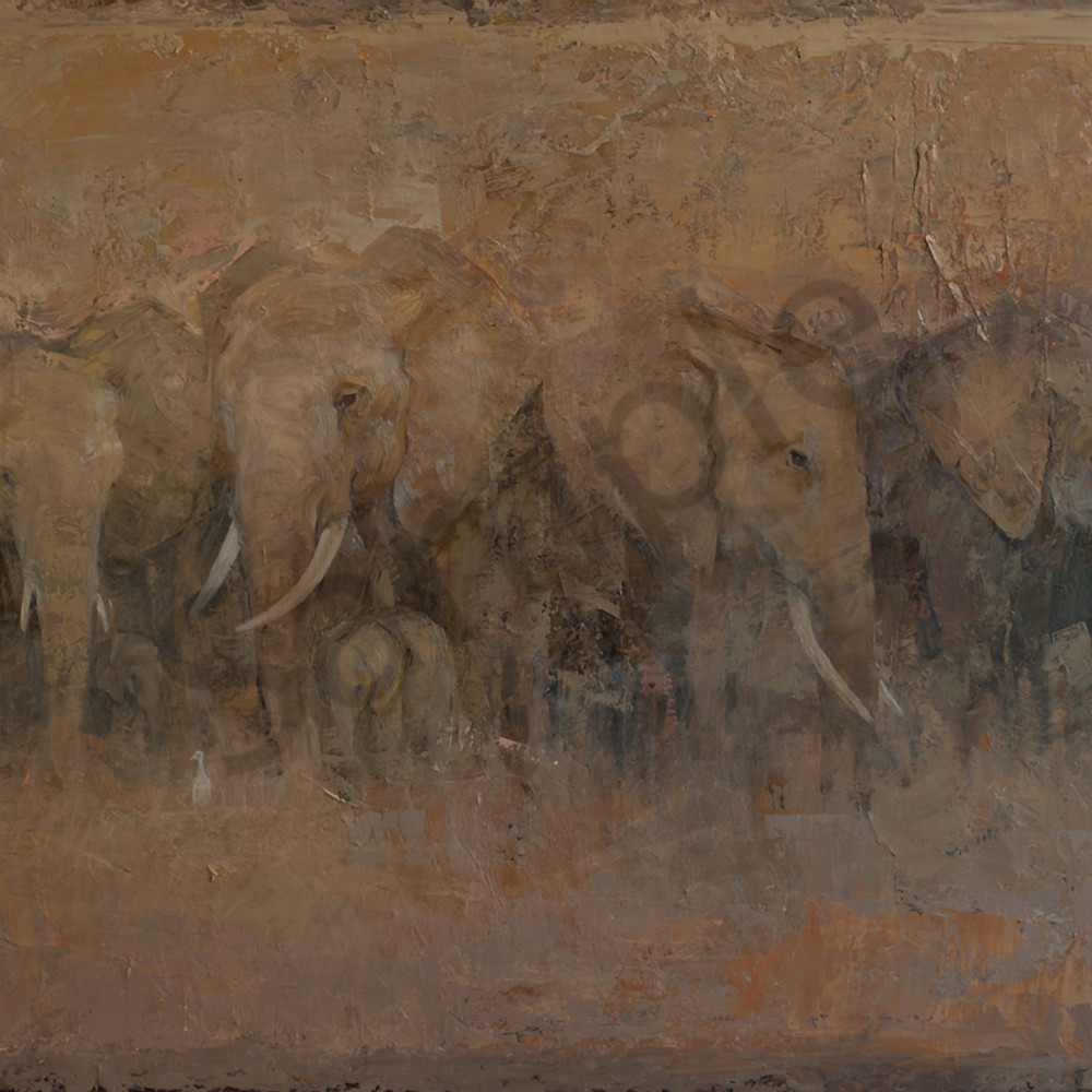 The egrets and elephants 42x78 oc gw nockhf
