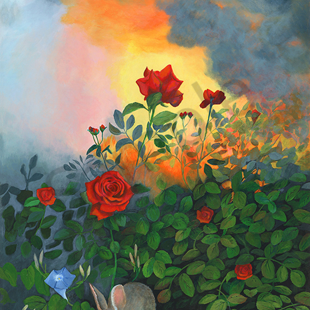 Rabbit in the roses xhz1ys