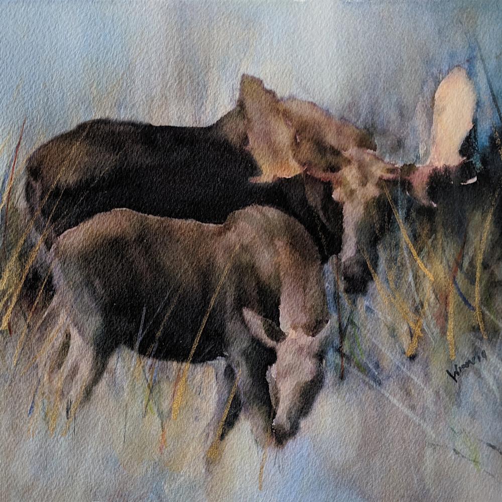 Moose and calf by penny winn wostz1