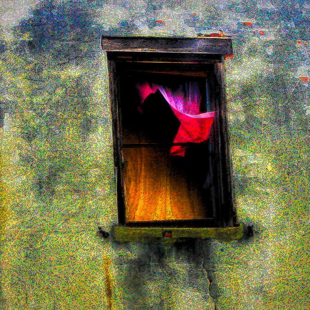 Pink curtain broken window iuoc5j