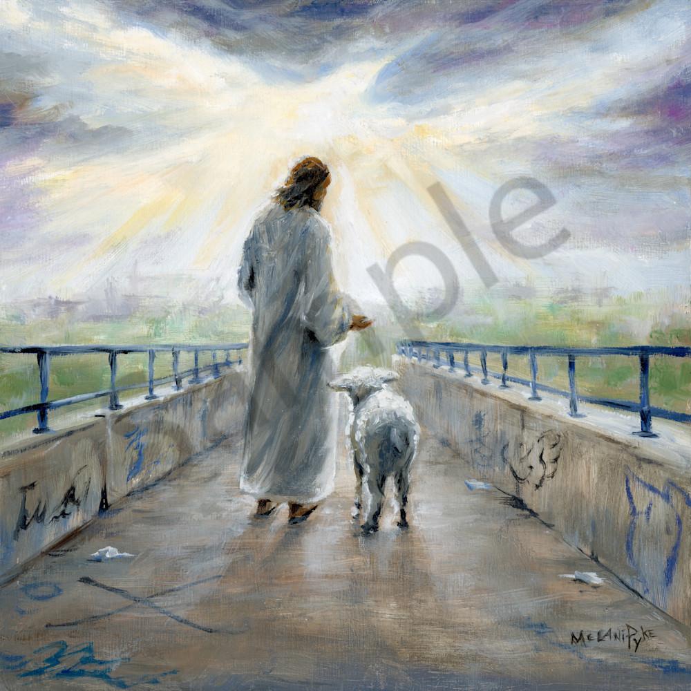 Jesus with lamb on graffiti bridge by melani pyke z9mczx