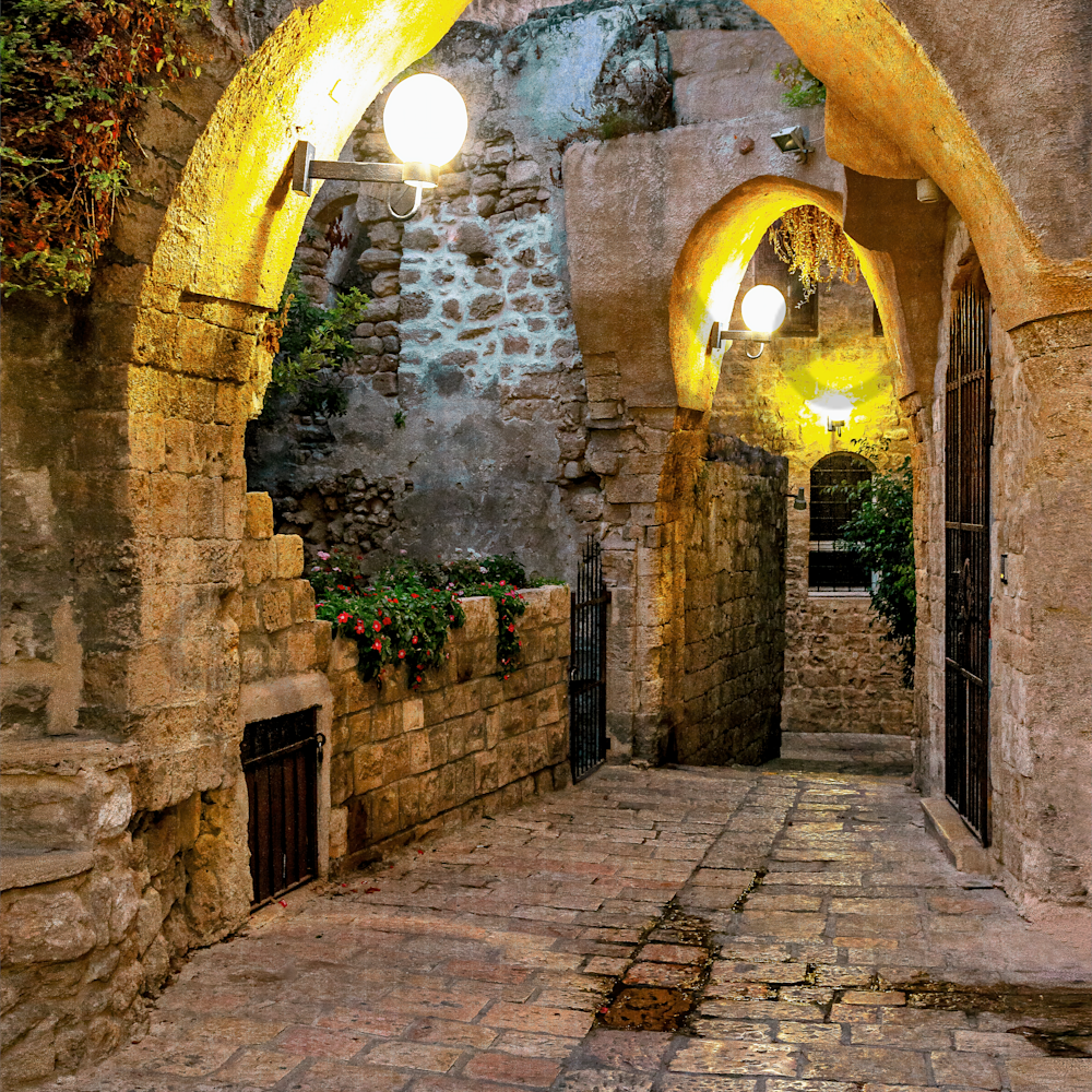 Old jaffa street with arches and lights israel uin6wc