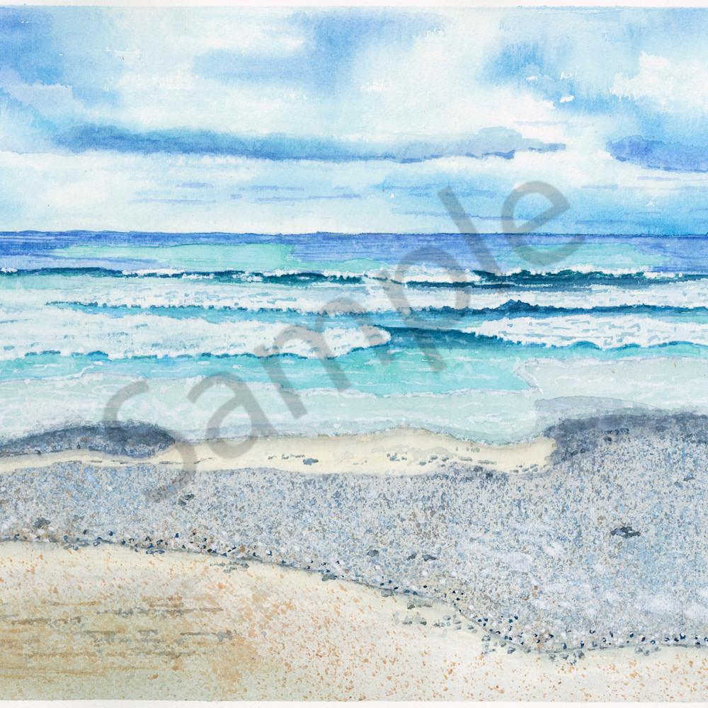 Water 08 2020 gloomy day beachwaves   original watercolor tn4gql