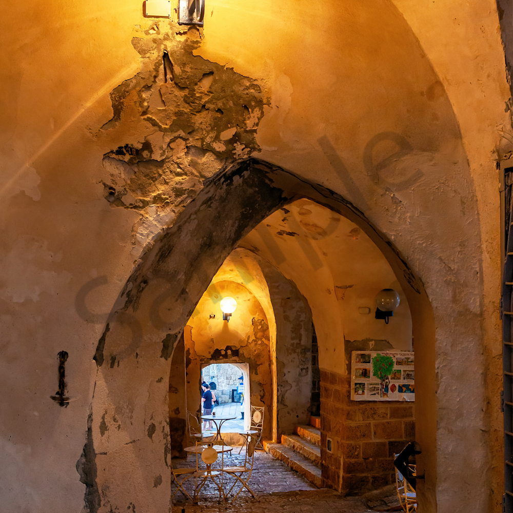 Old jaffa from inside of cafe. israel a08wtw