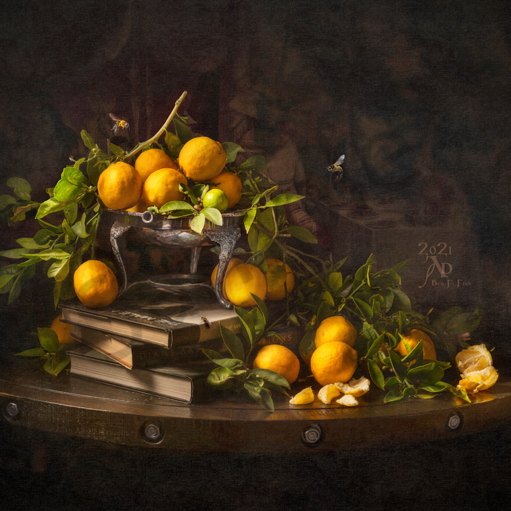 Still life with lemons and books open edition ihszqy