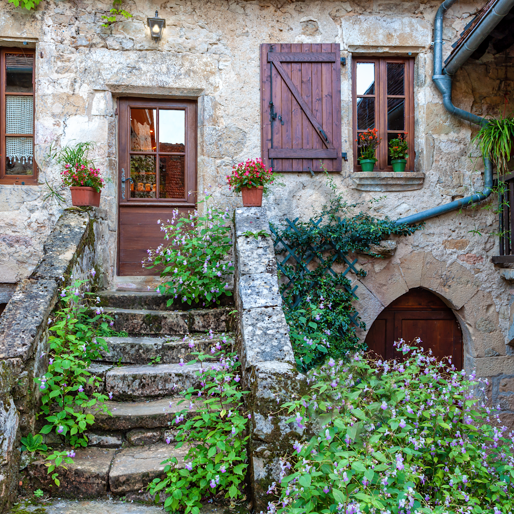 Stone house autiore france horizontal with flowers f8smcx
