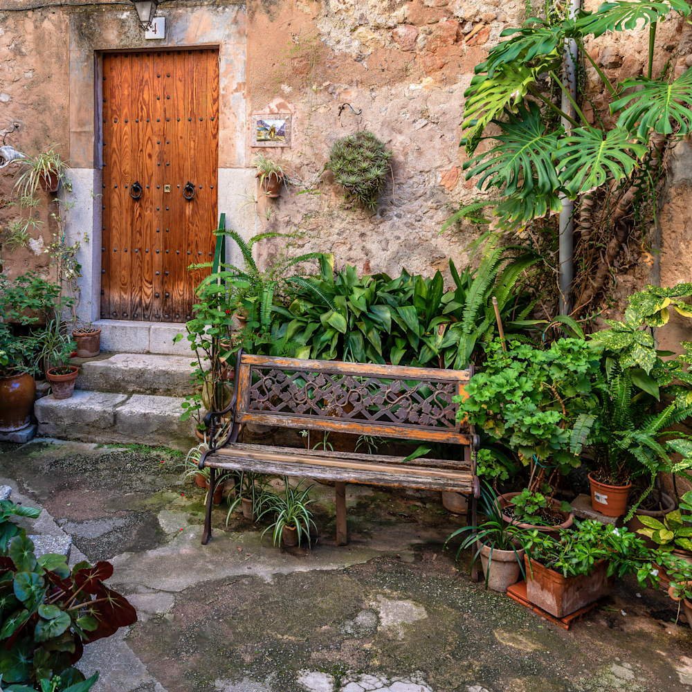 Courtyard with bench mallorca spain ajroeo