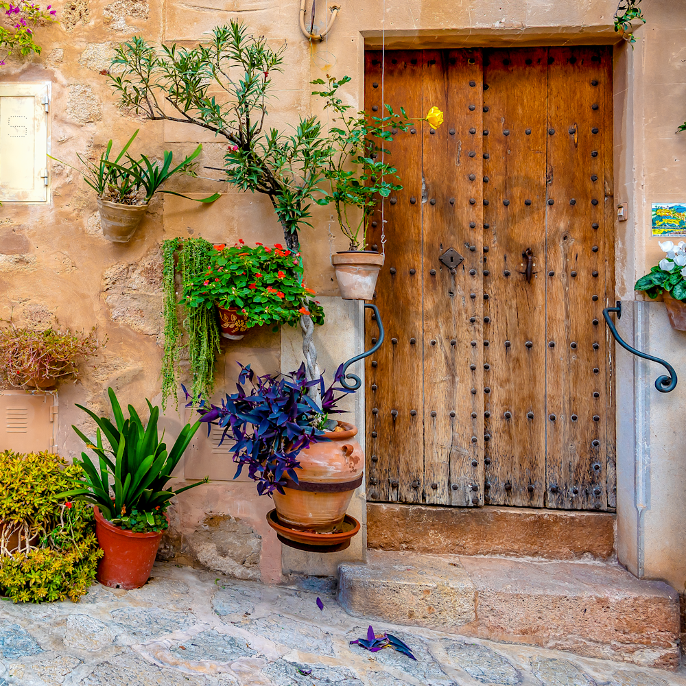 Brown door and planters in courtyard mallorca spain aismcb