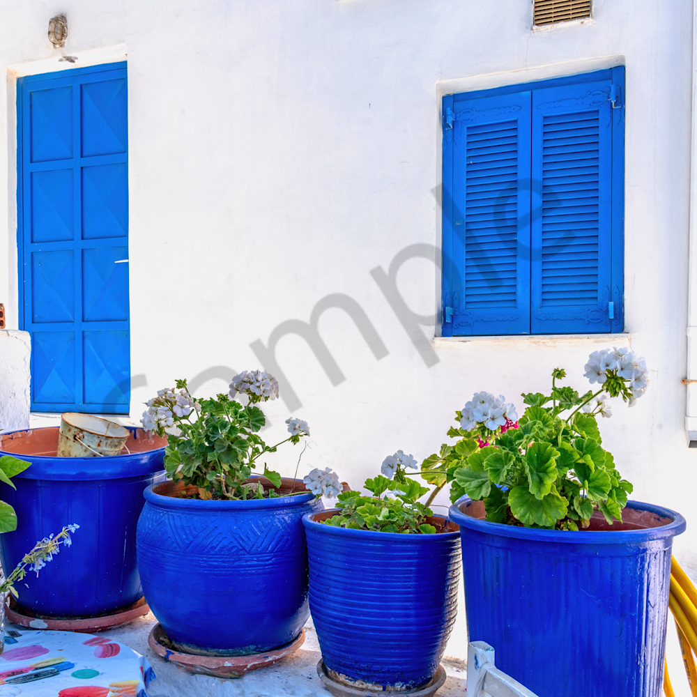 Blue pots and planters naxos greece rjjdej