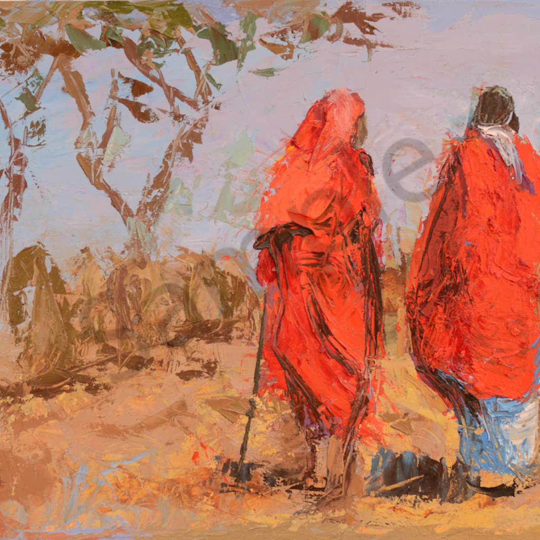 Two maasai warriors herding cattle 9x12 zprlbi
