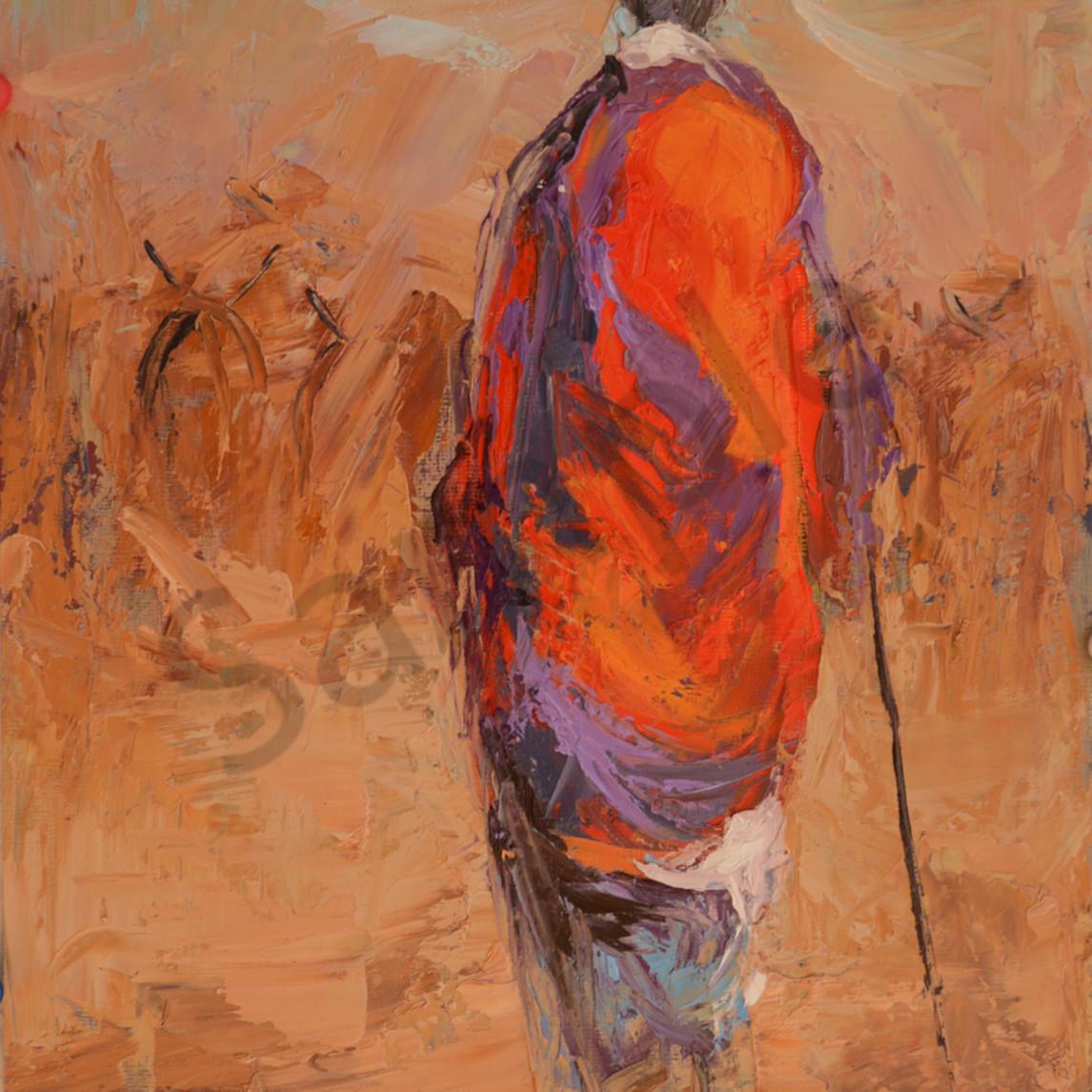 Tall maasai warrior herding cattle 12x9 kihkgq