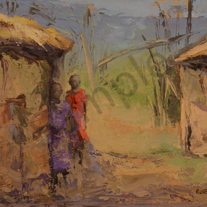 Two maasai girls at hut door 9x12 hrangn