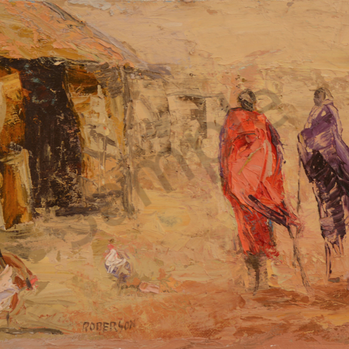 Two maasai in village with chickens 9x12 abqsct