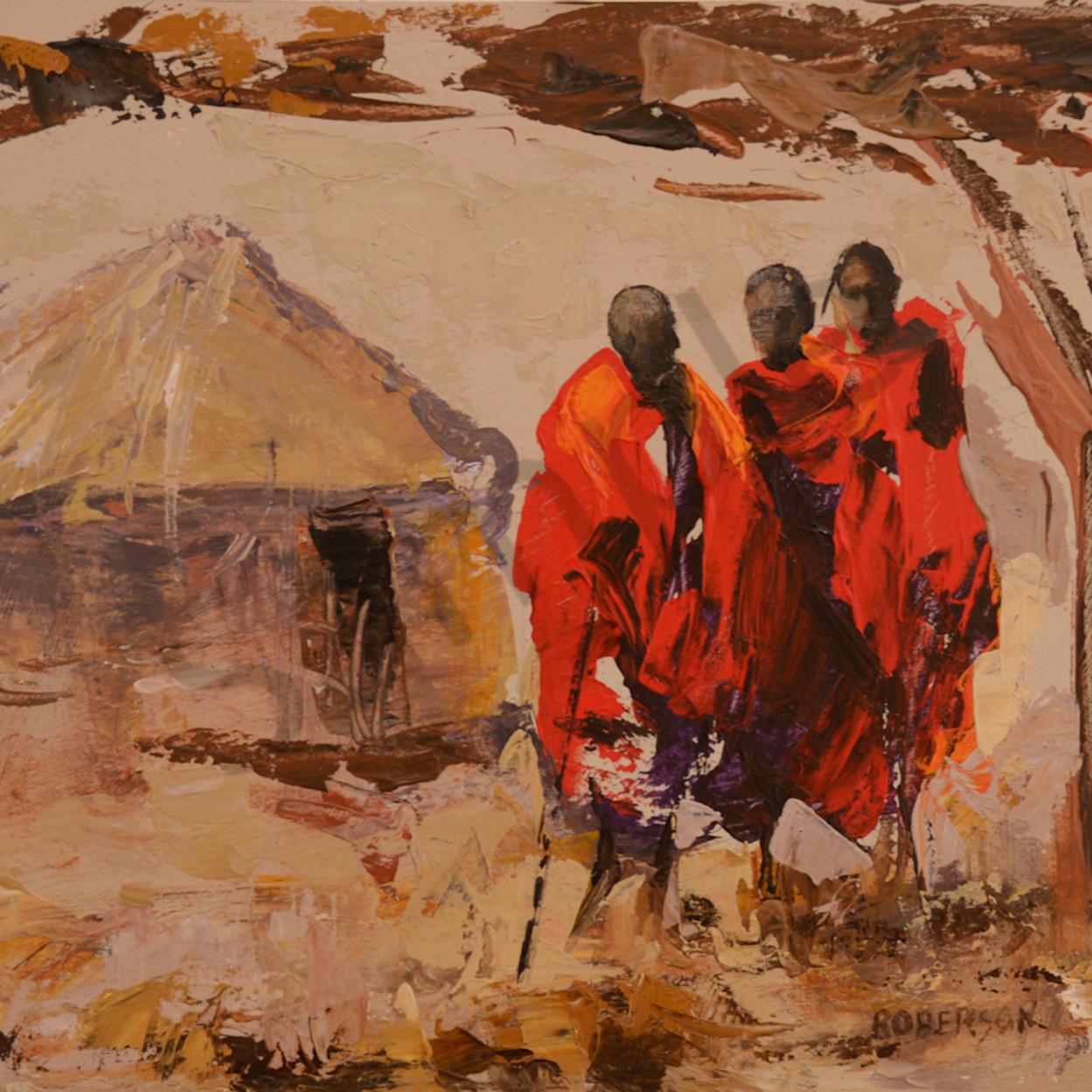 Three maasai warriors and hut 9x12 pkqhwn