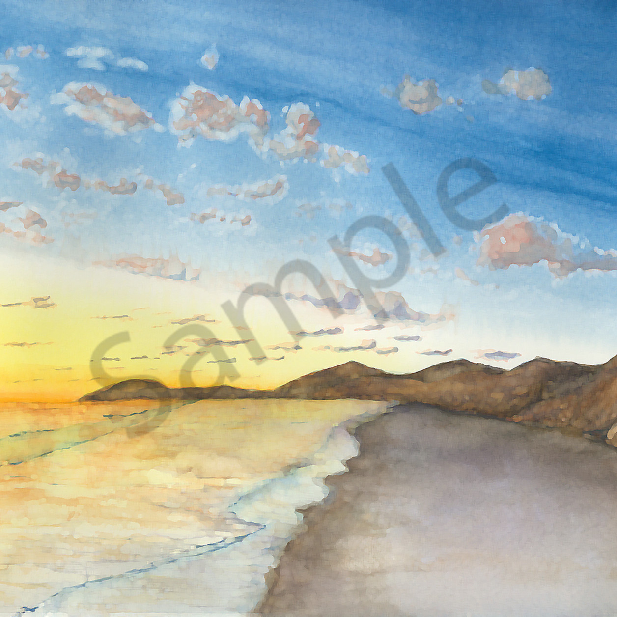 Water102019   torrey pines sunset last light   ps paint daubs rr9ikh