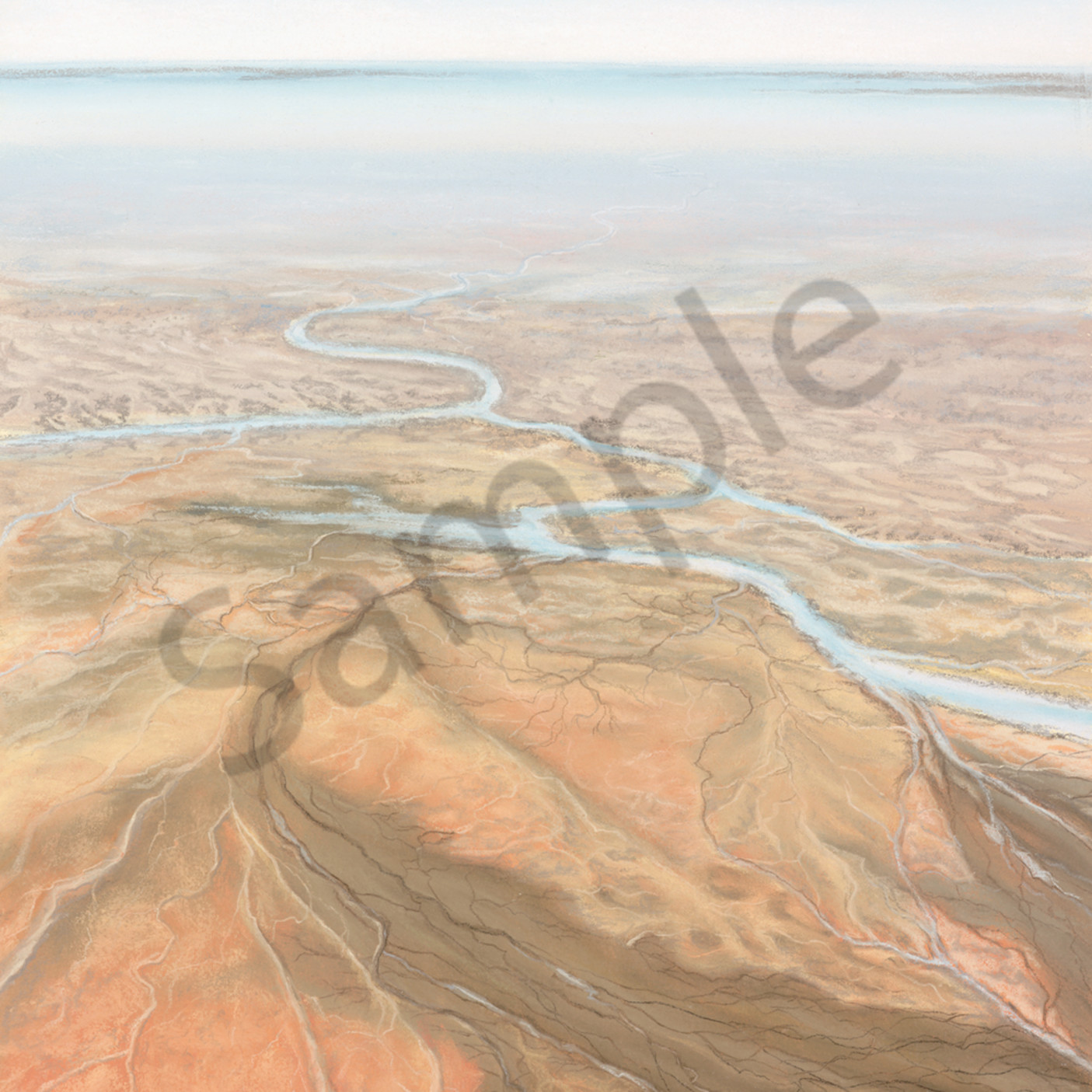 Jgre 050 approaching lake eyre 47x33cm original e4syj4