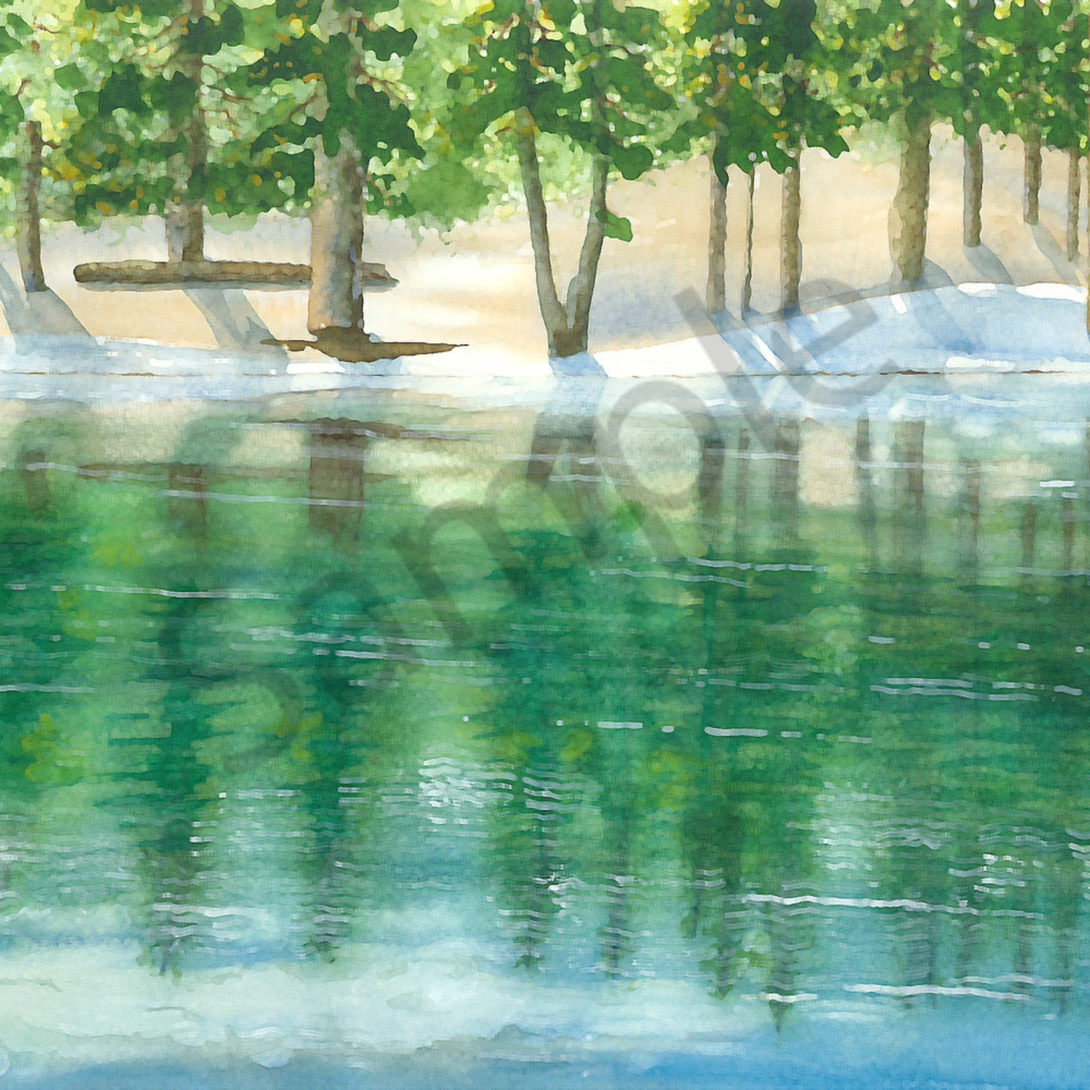 Water012019   watercolor painting   green valley lake reflection big bear 2019   ps paint daubs fcvjr4