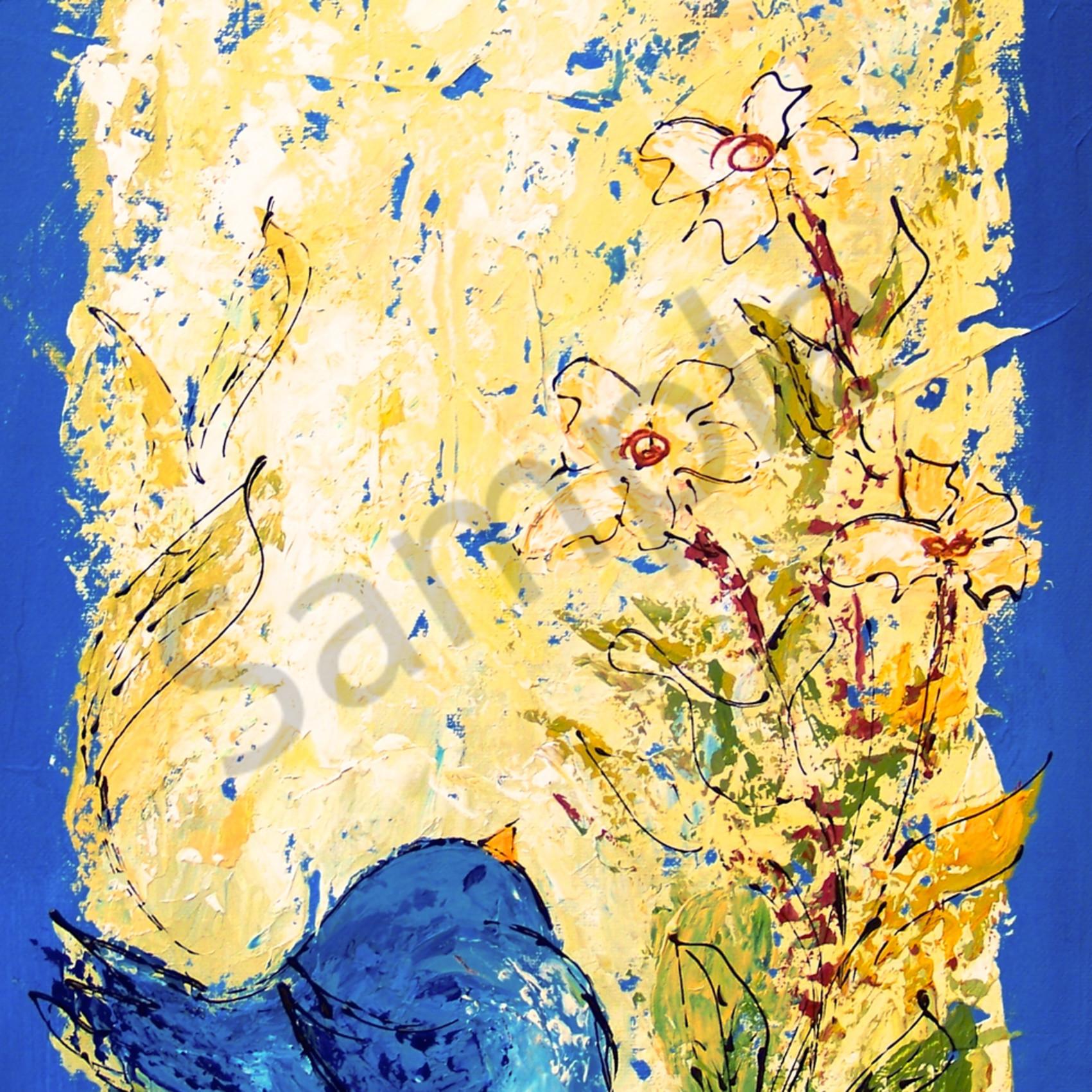 Tall chubby blue bird with flowers ax6vla
