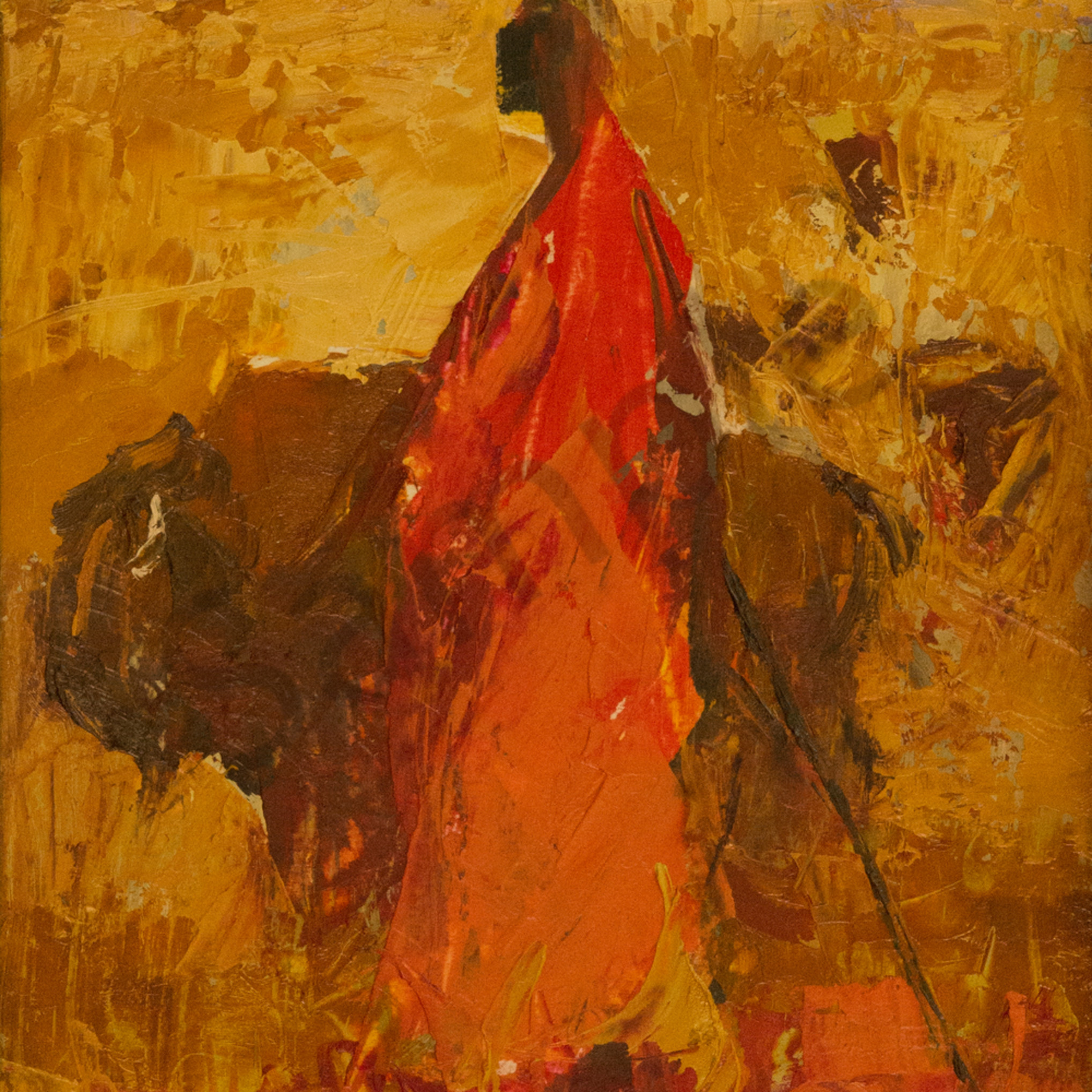 This is either a maasai man in yellowstone or a bison in kenya12x9 fvtnin