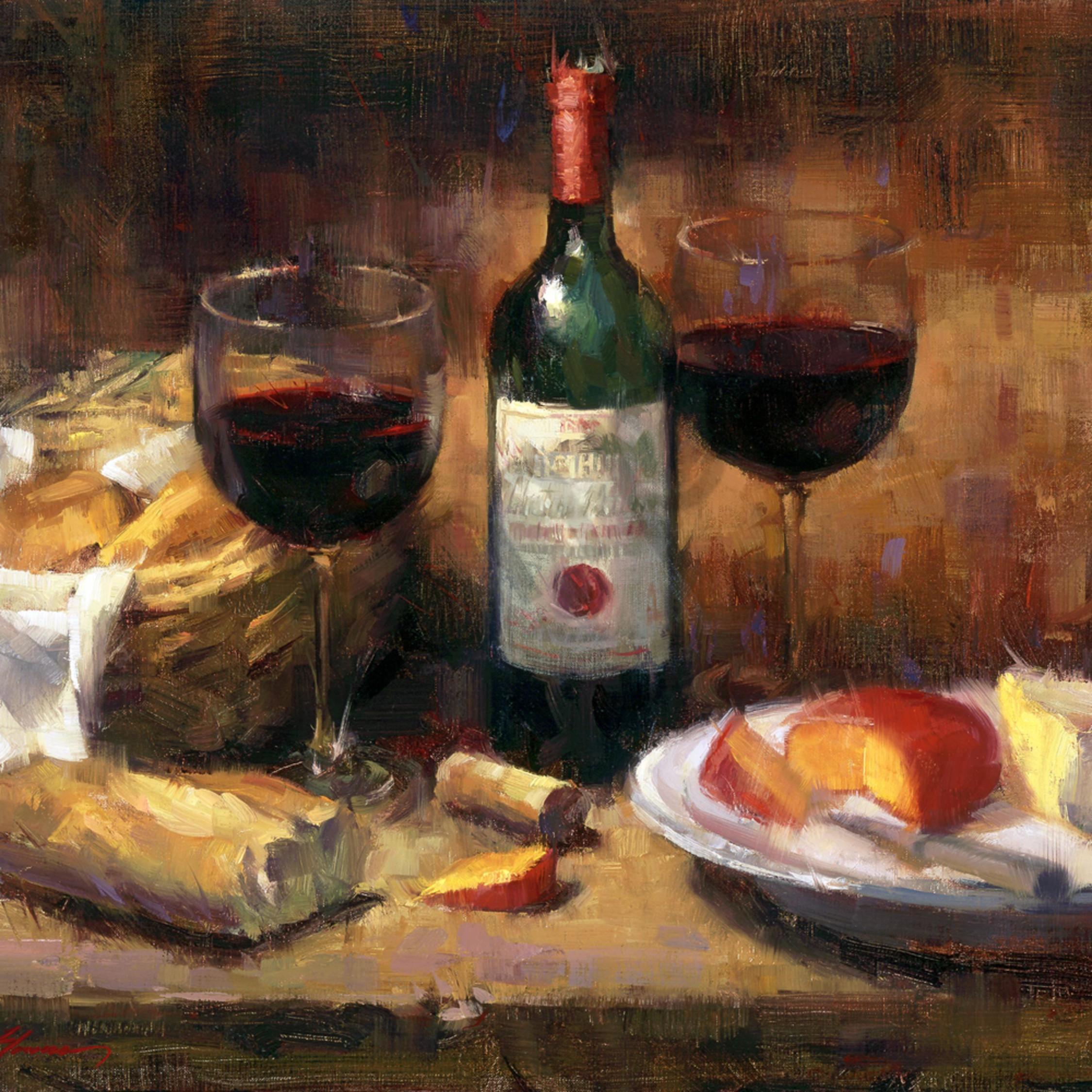 Wine Cheese Still Life Painting Tucson Art Gallery