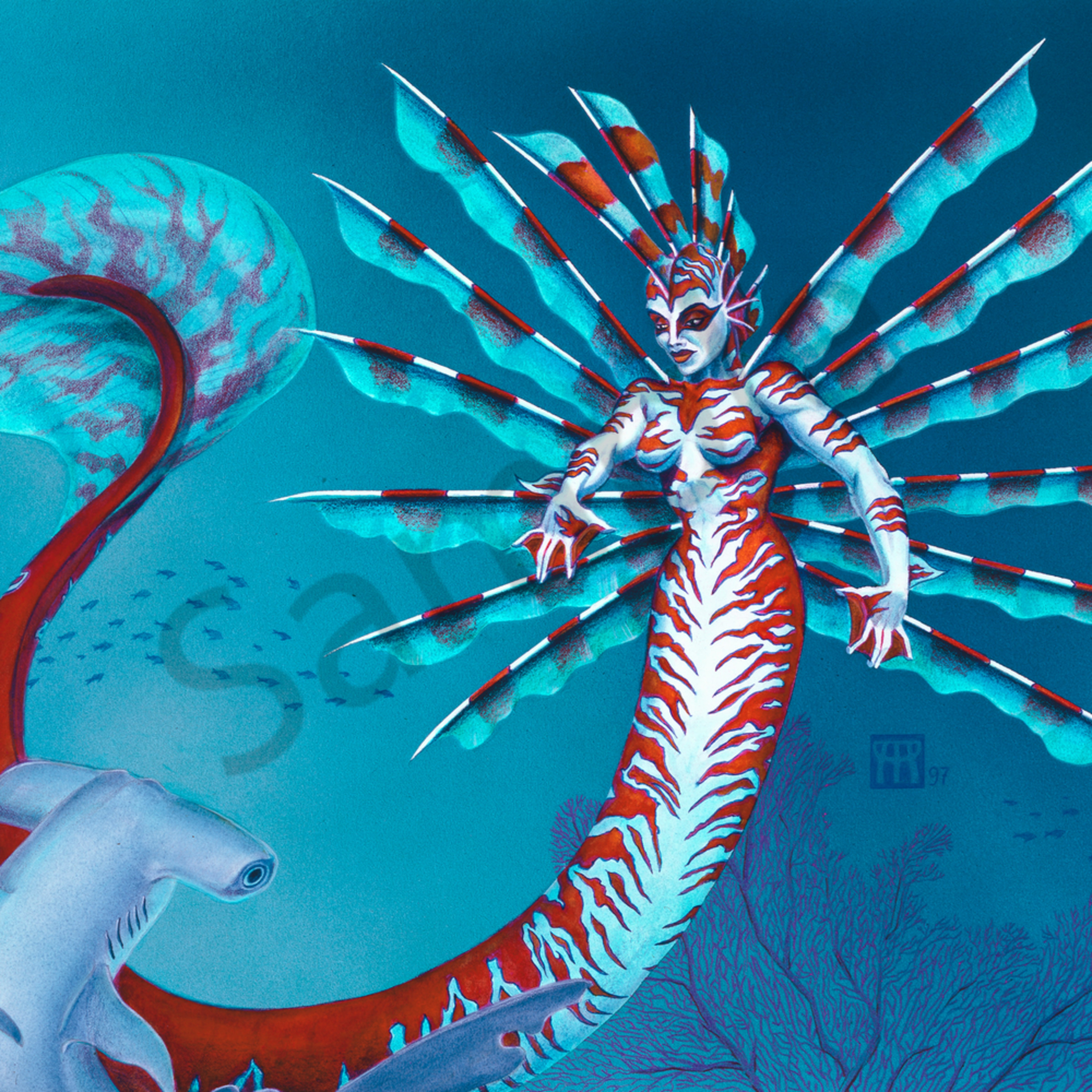 Mermaid with shark zfpvs1