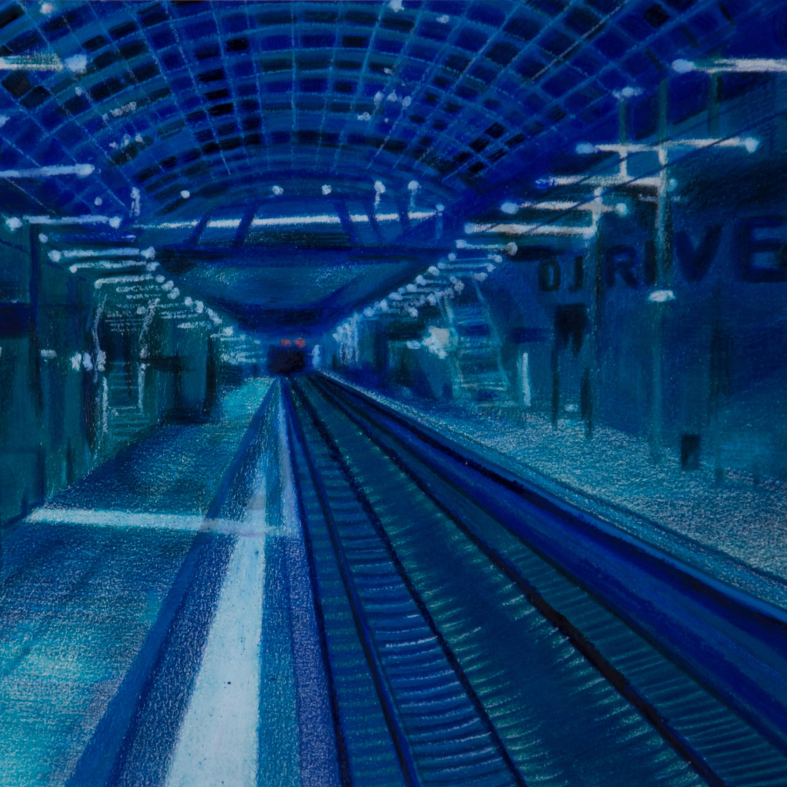 The blue underground subway zl1j0d