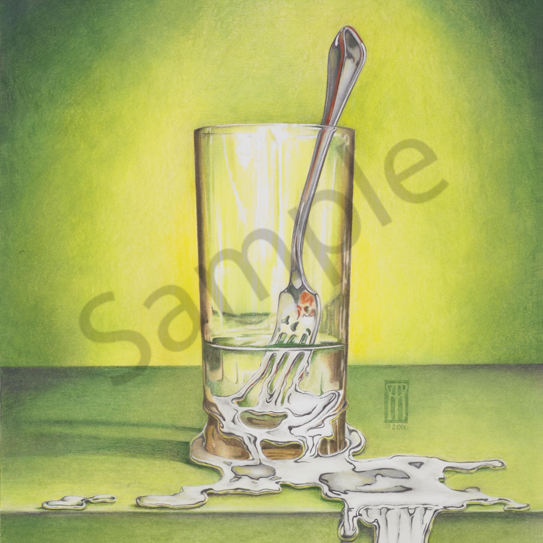 Glass with melting fork sjdy5w