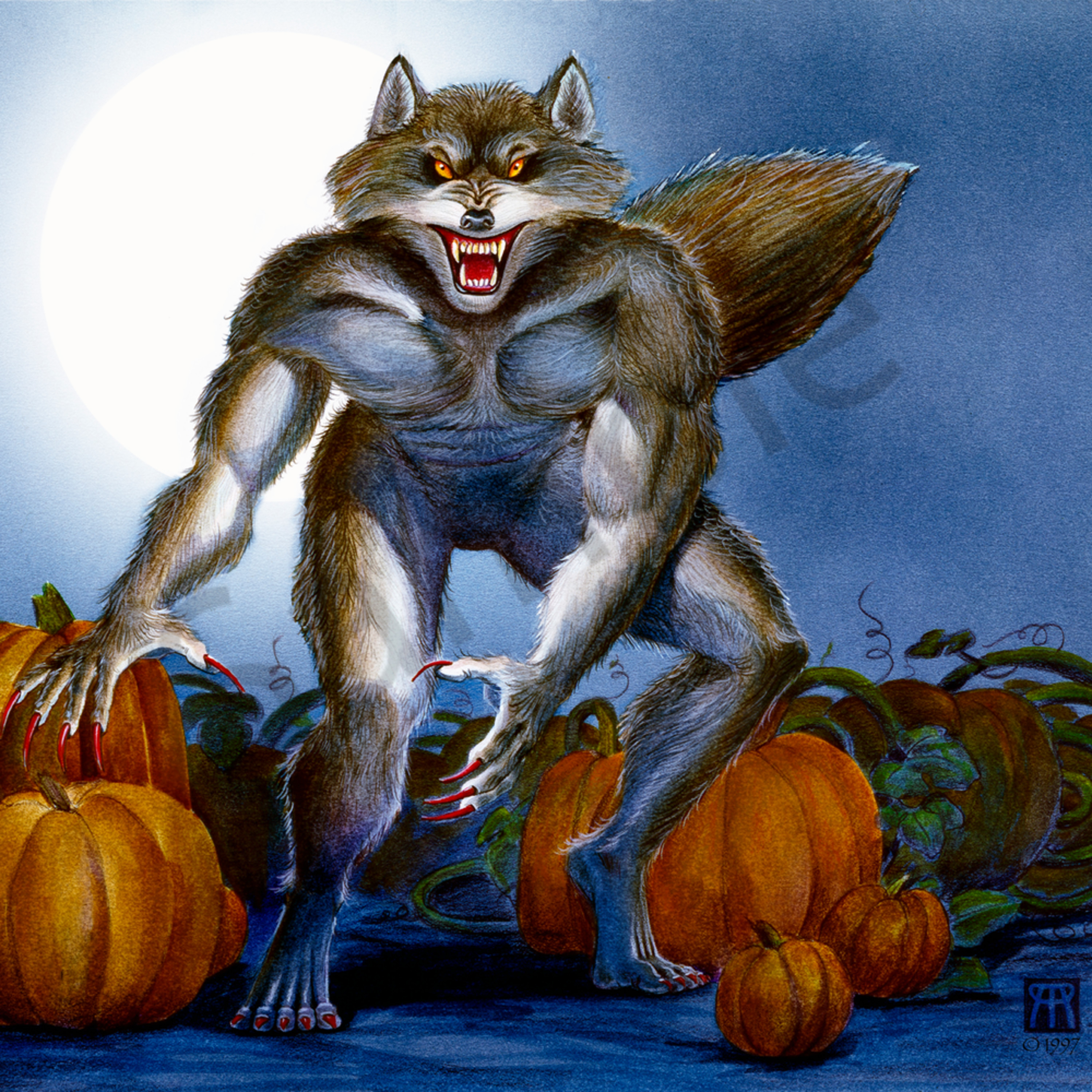 Werewolf with pumpkins kgxljm