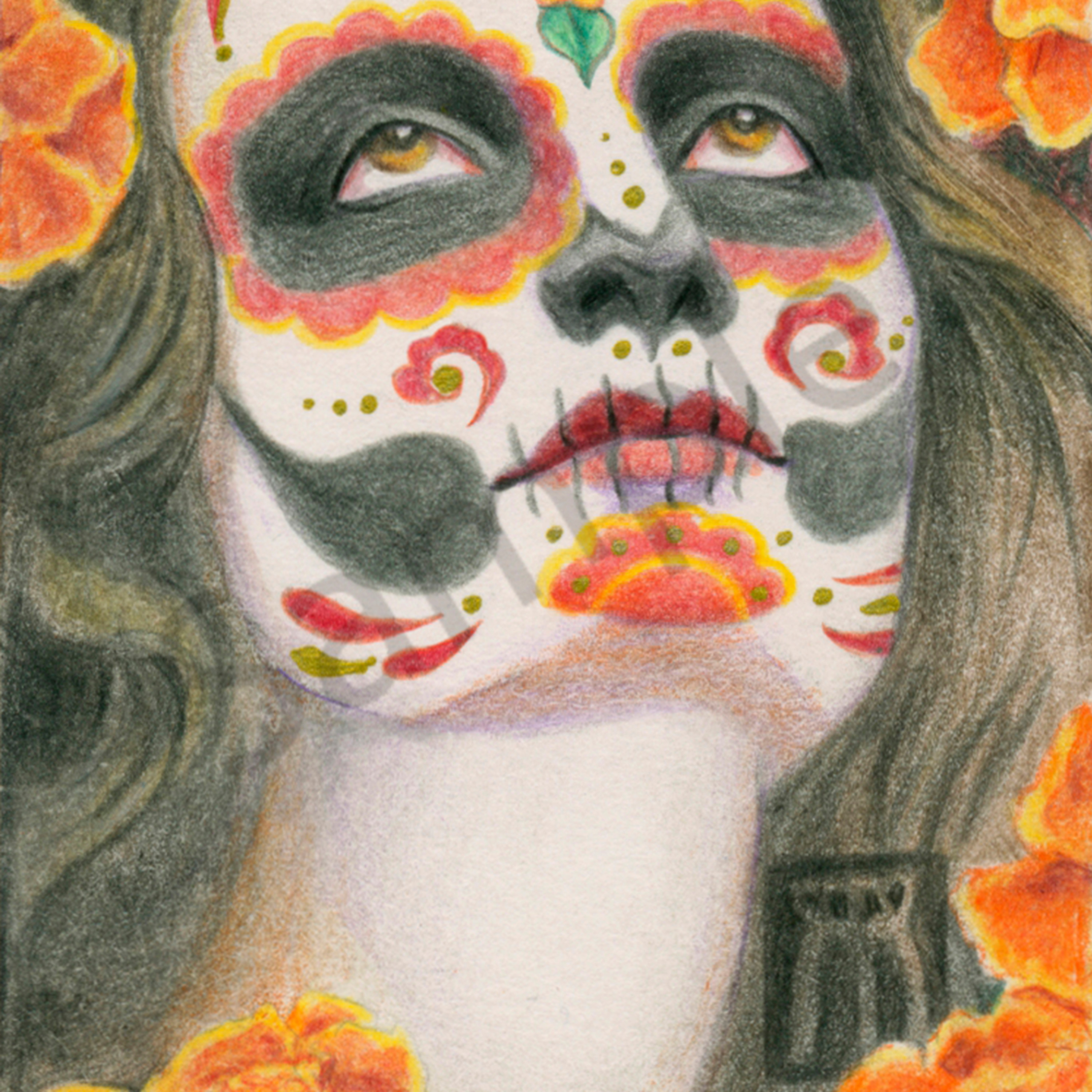 Day of the dead marigolds 10 x 14 zofpja
