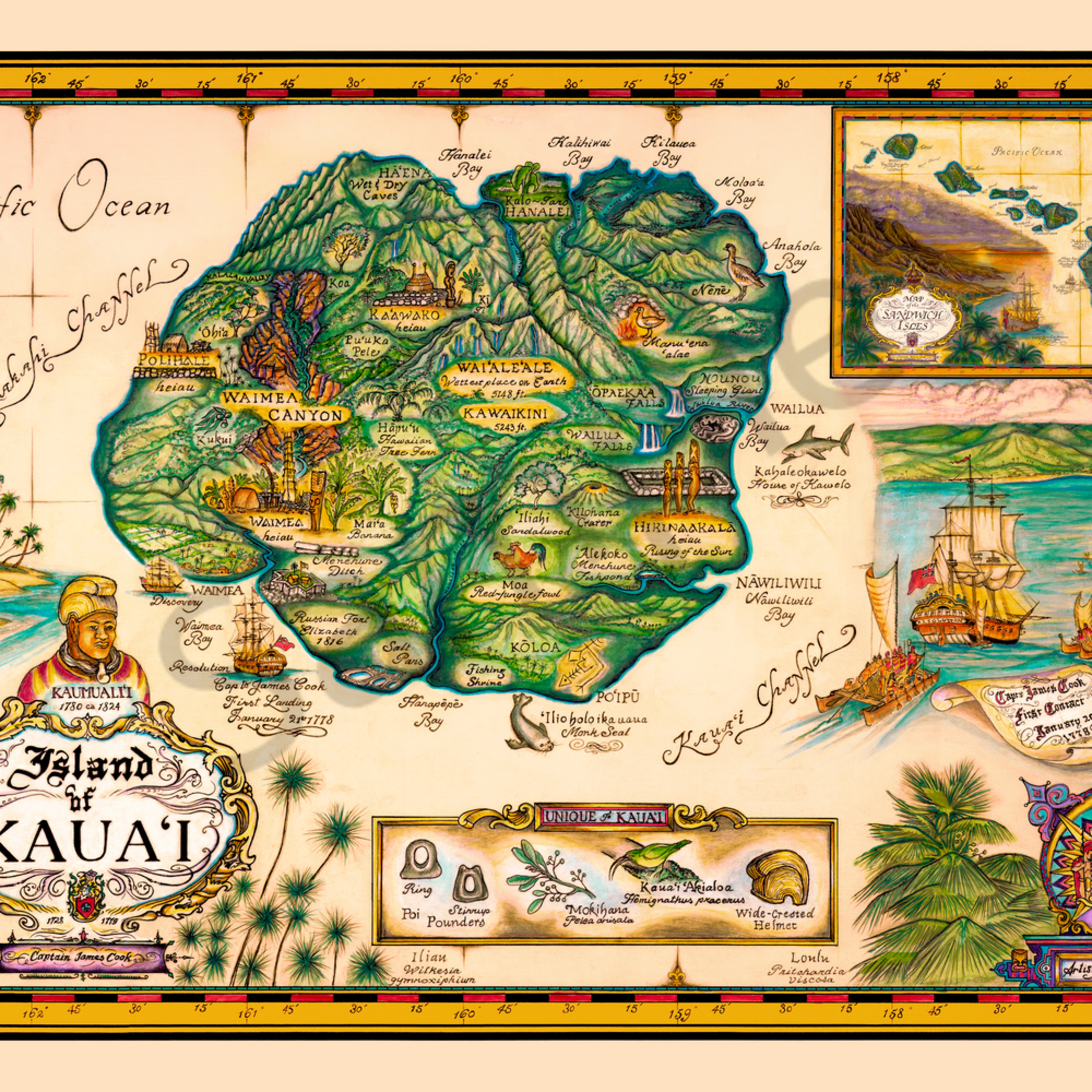Historical Maps Map Of Kauai By Blaise Domino