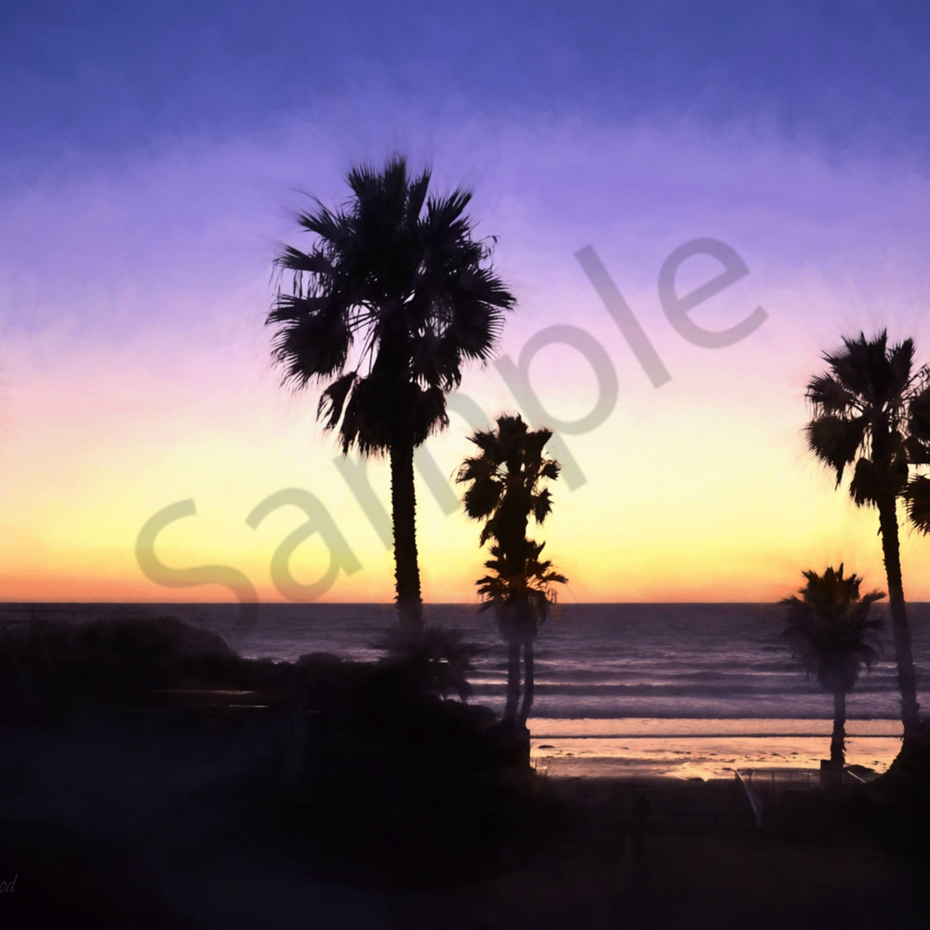 Dsc 8362 happiness at heart   solana beach sunset   topaz watercolor 2015 tag r krcjpg