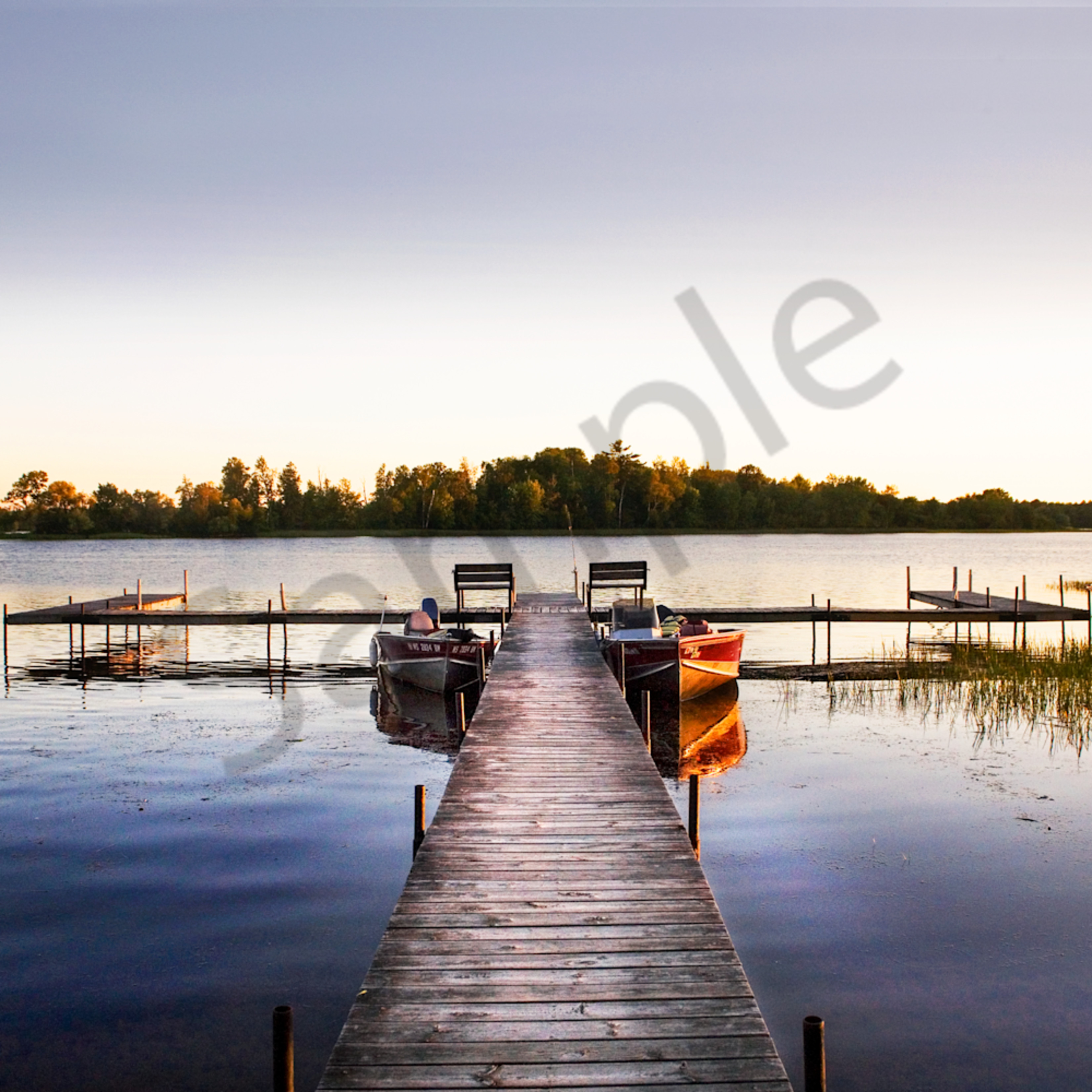 Boat dock lake side 11x14 xhctjs