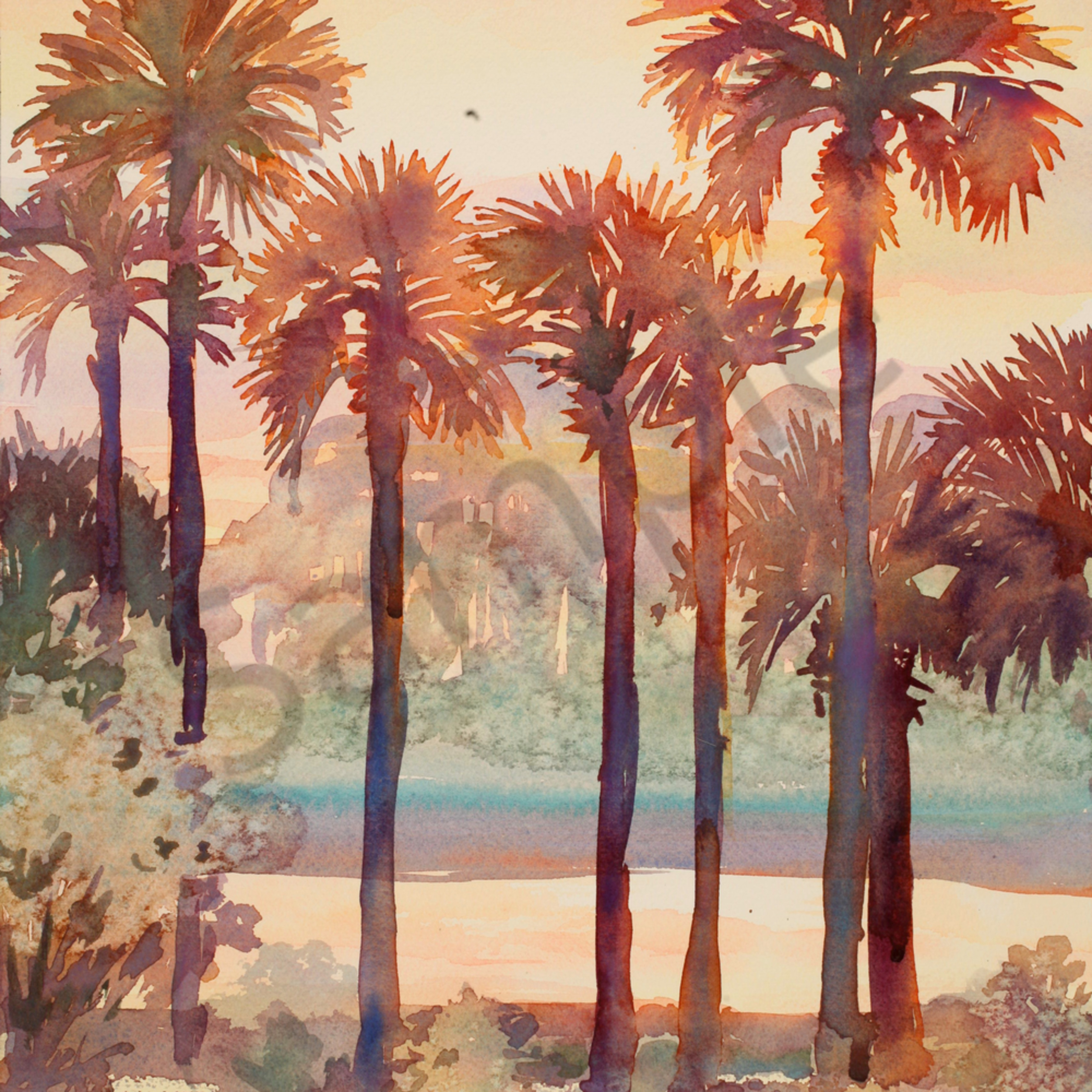 Intracoastal palms 2 12 x 16 watercolor landscapes t8yrym