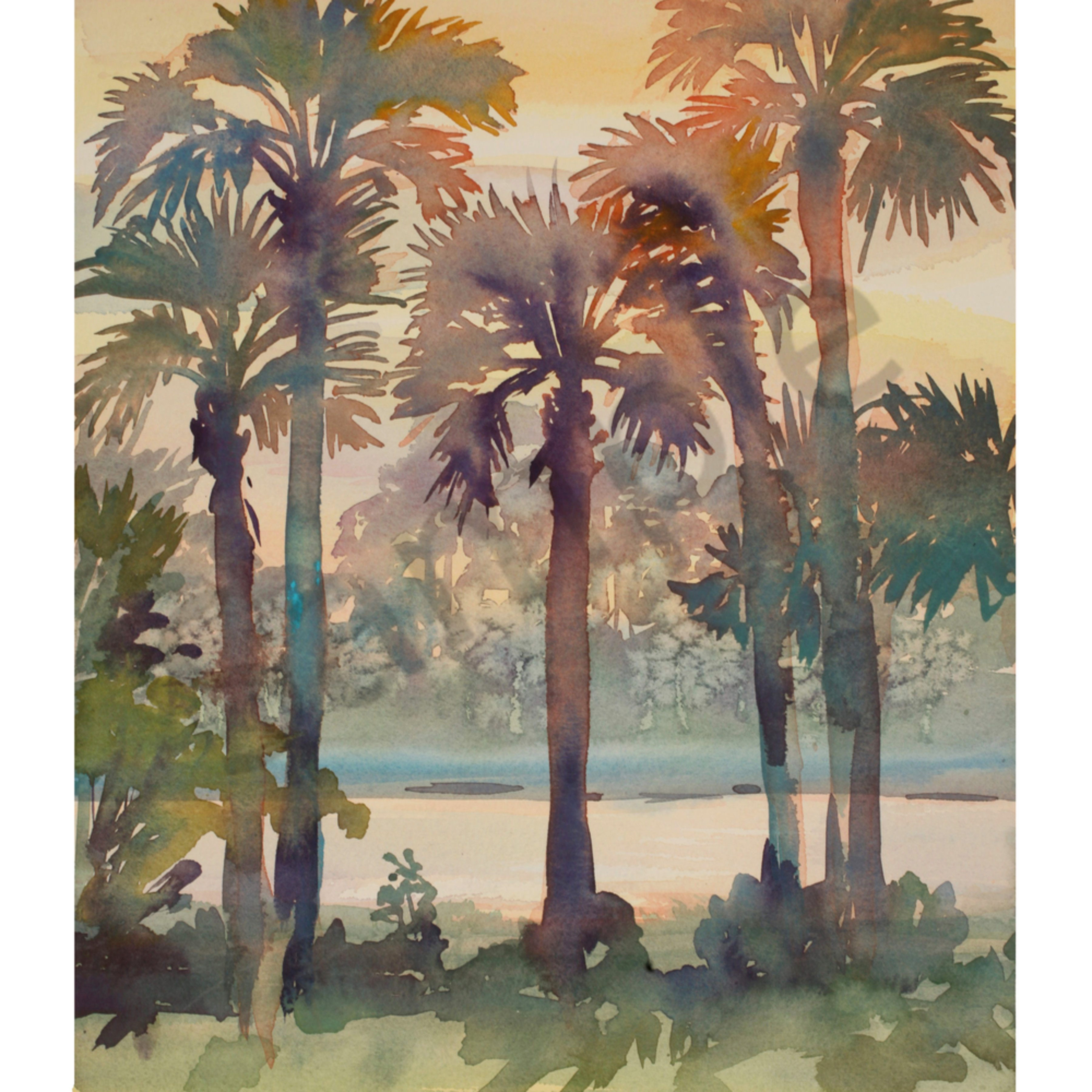 Intracoastal palms 3 12 x 16 watercolor landscapes hckftv
