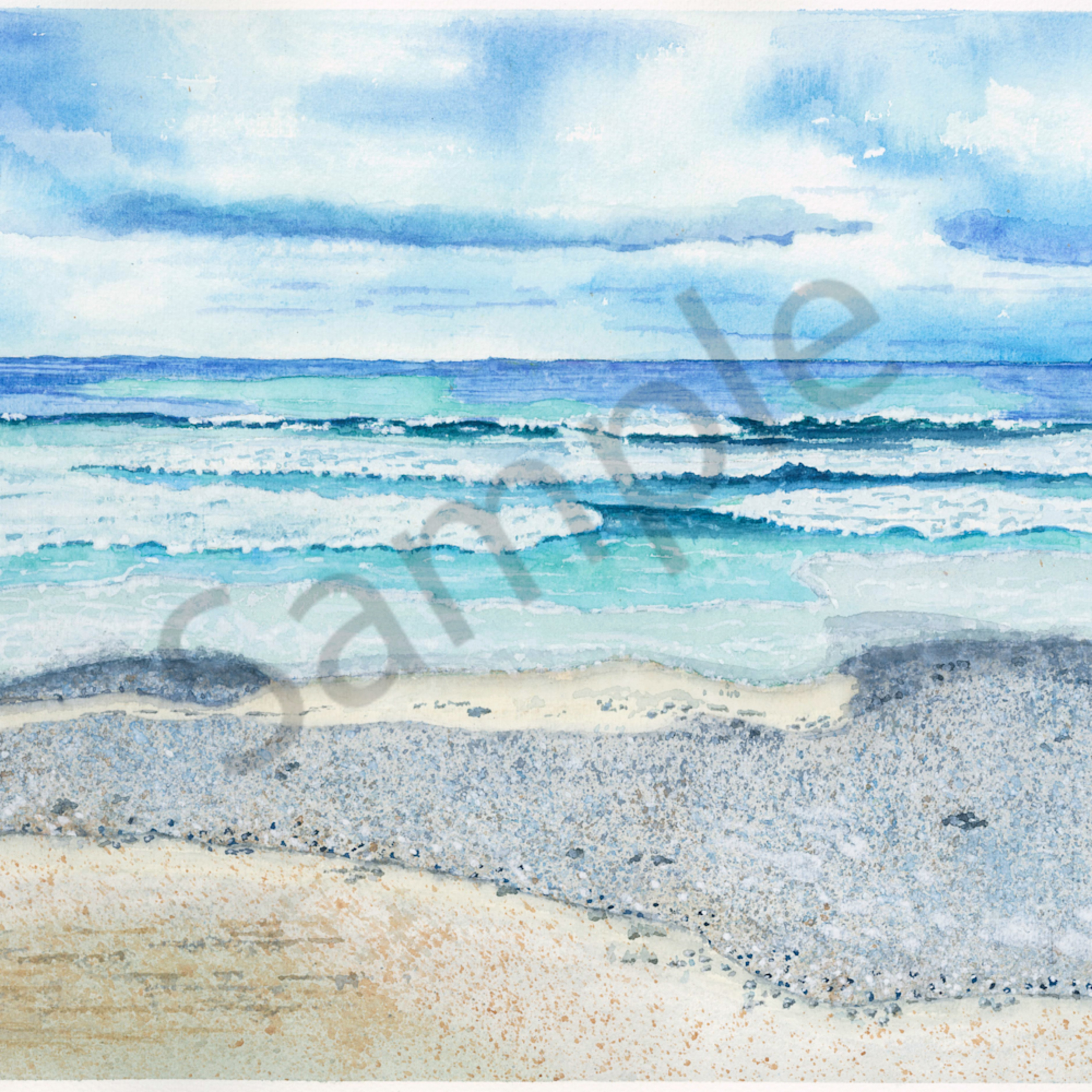 Water 08 2020 gloomy day beachwaves   original watercolor tn4gql