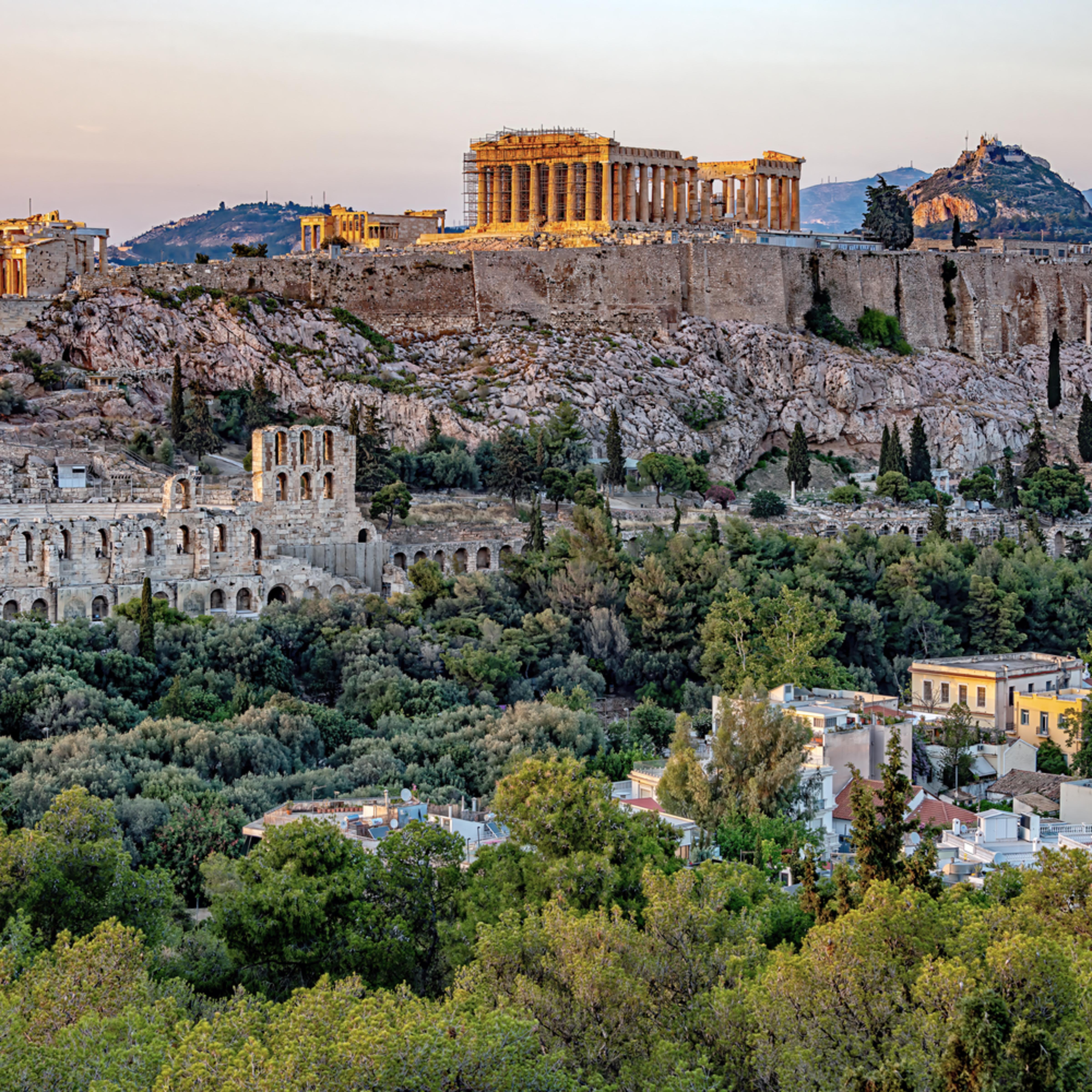 Acropolis athens greece and late afrternoon uqjdq2