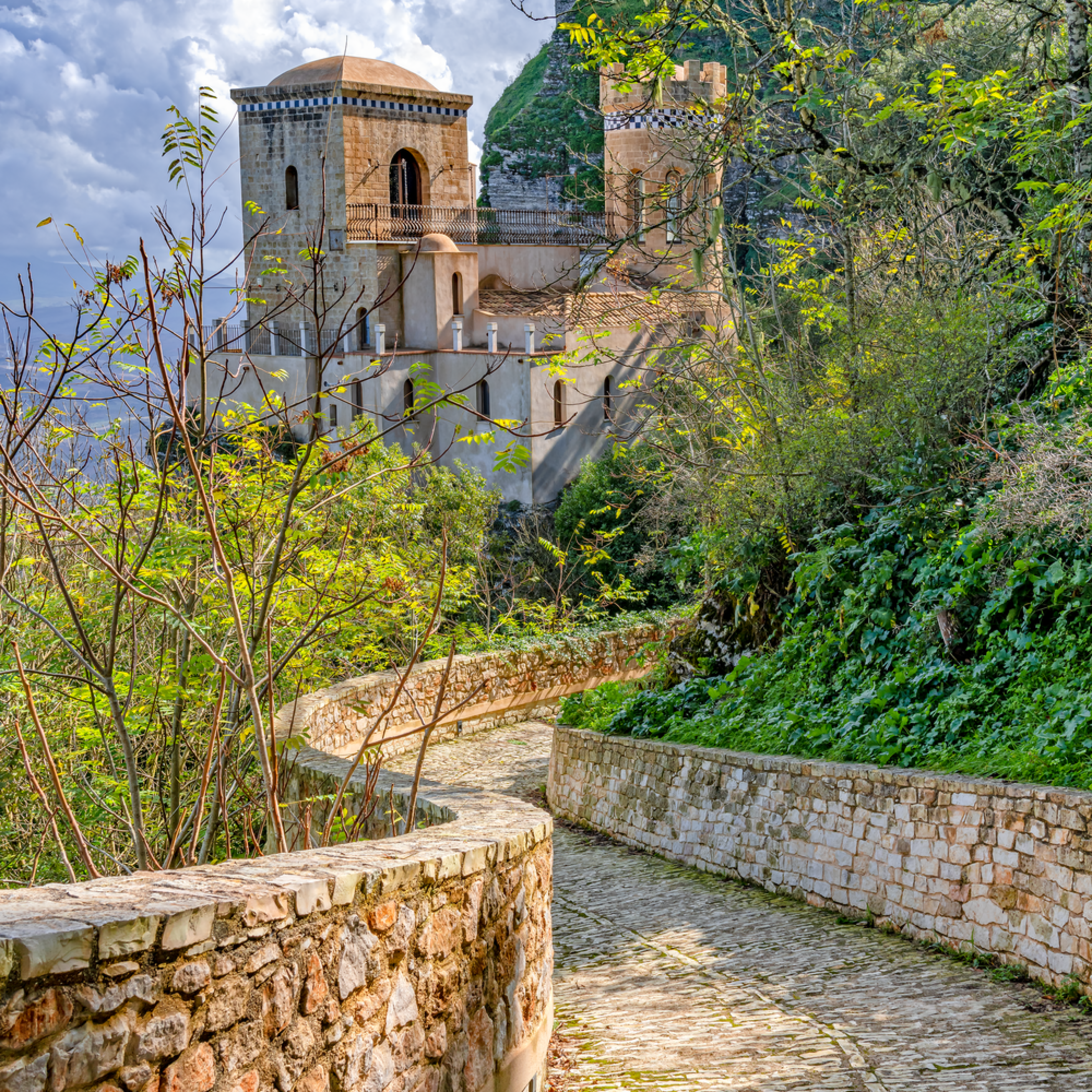 Erice and castle vertical sicily italy ubt0ox