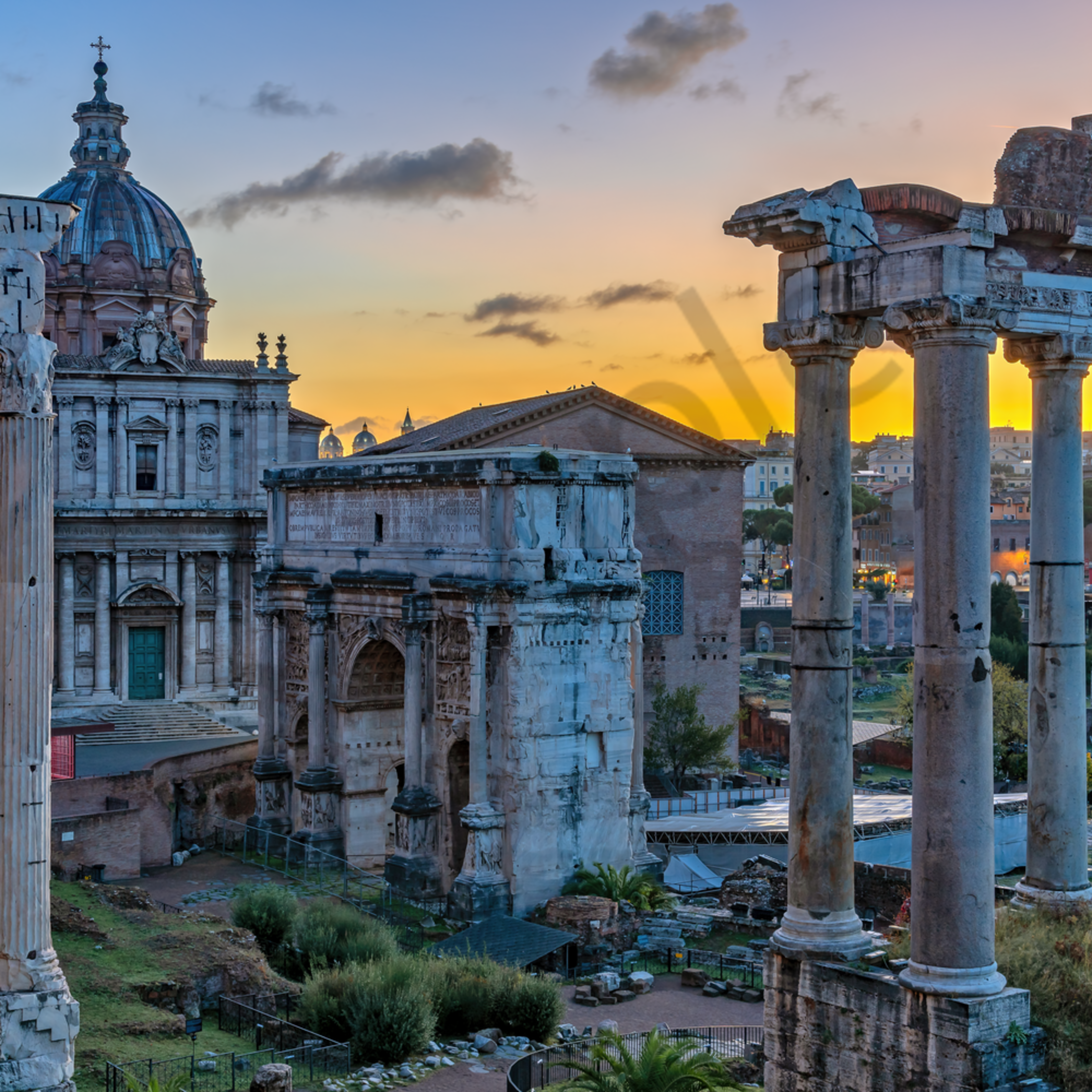 Roman forum and sunrise rome italy fw4jfv