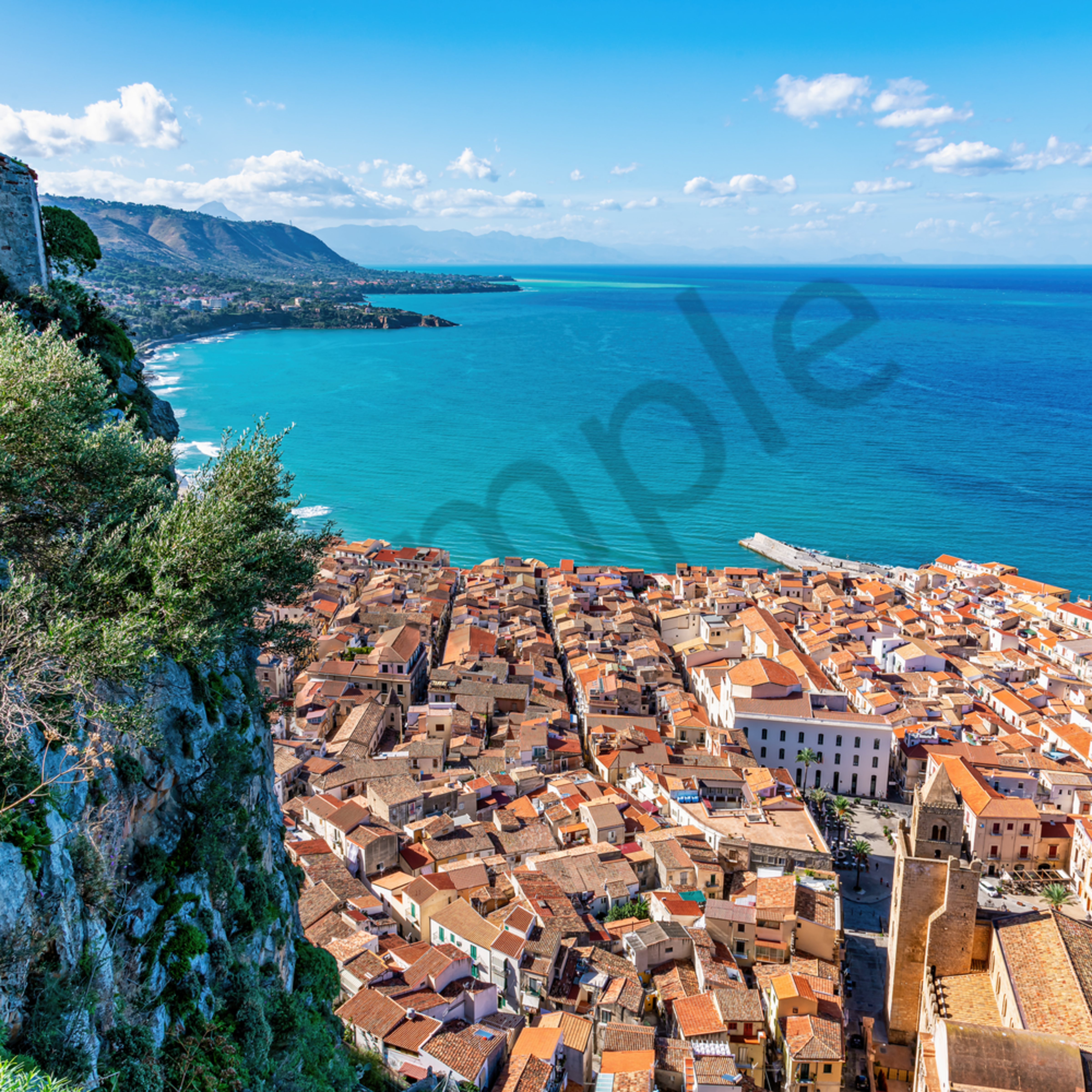 Cefalu from mountain park sicily italy gv5aer
