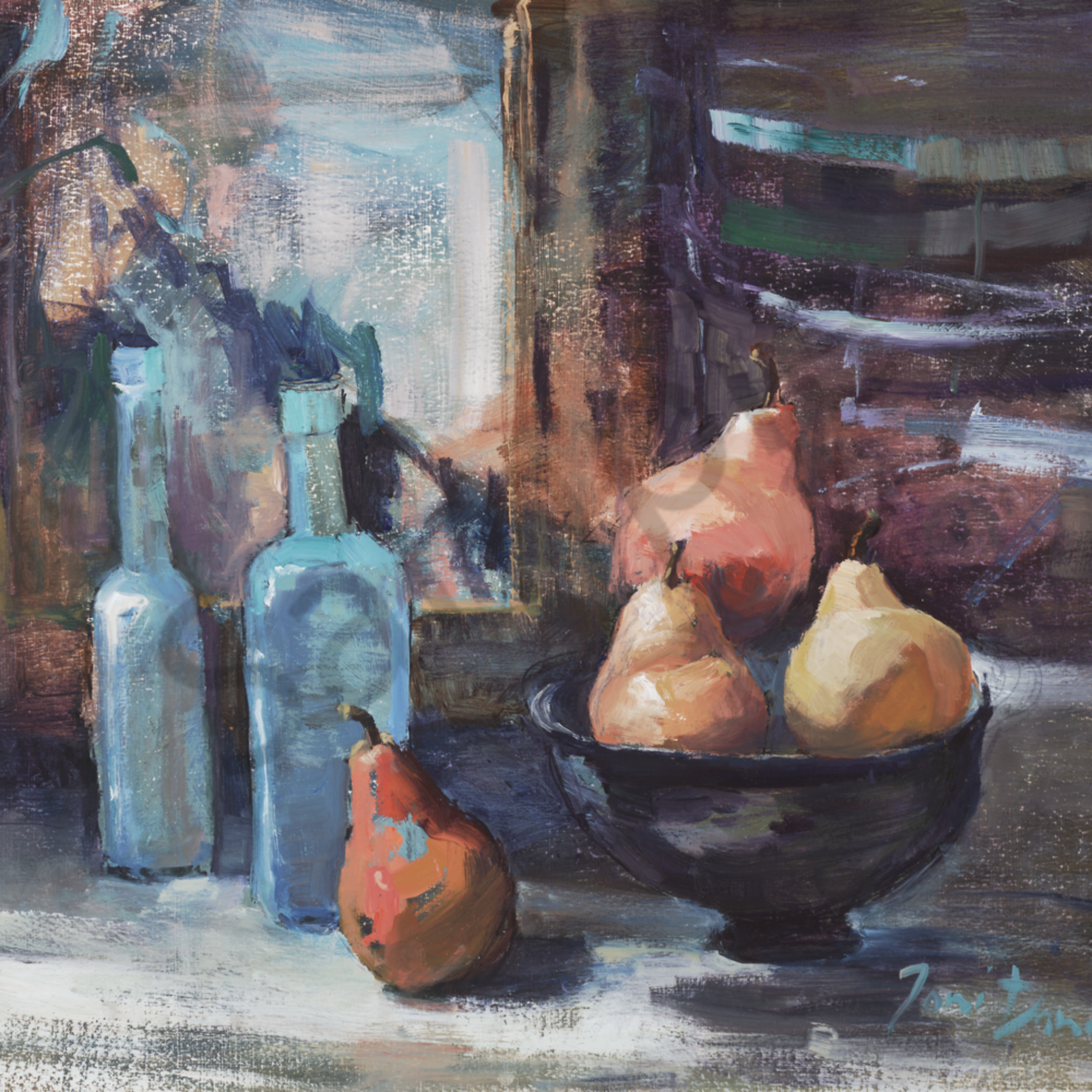 Blue bottles and pears 16 x 20 pmmqyc