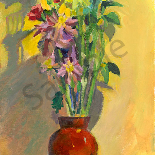 Red vase on yellow hzjbrv
