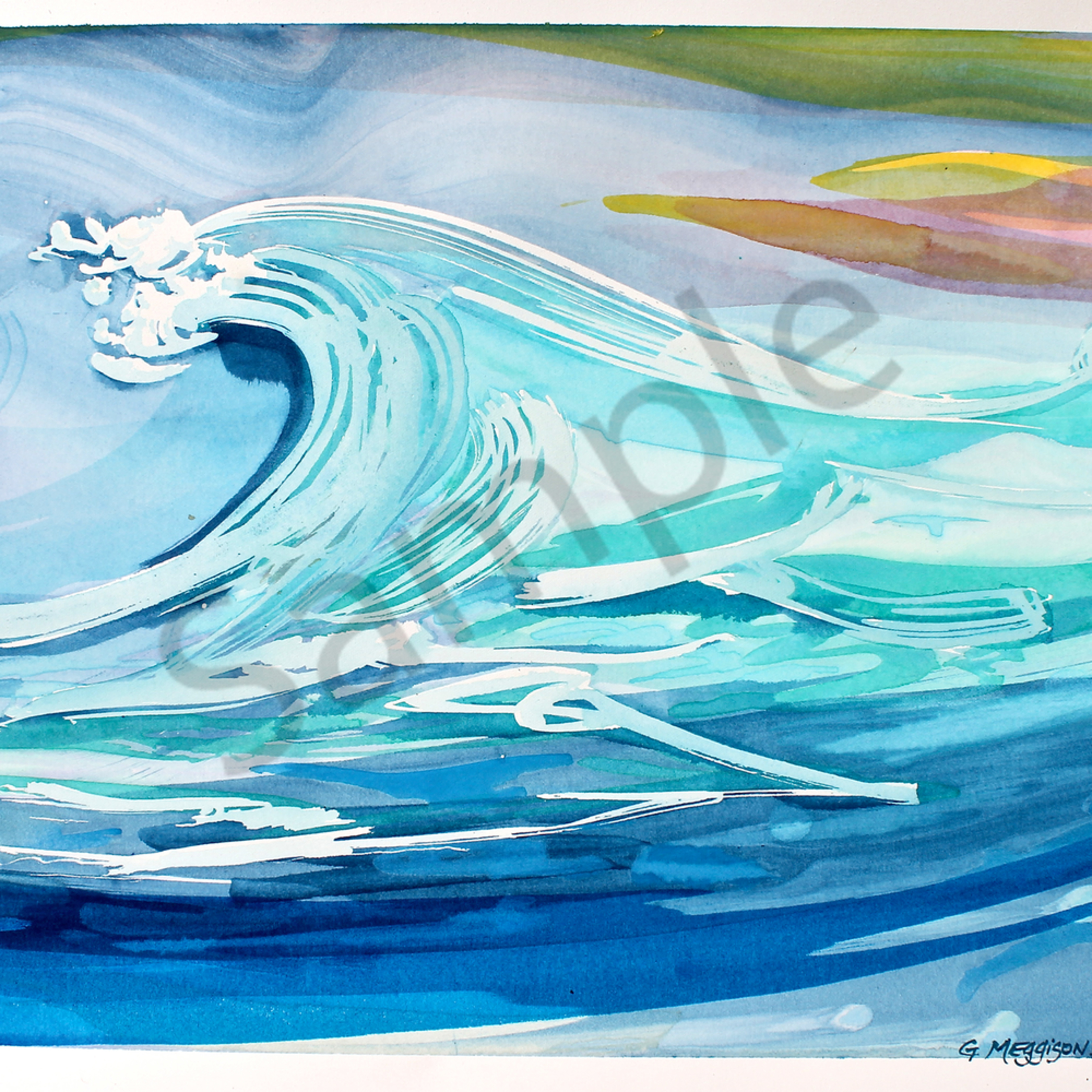 Blue wave 18 x24 watercolor cc1z7y