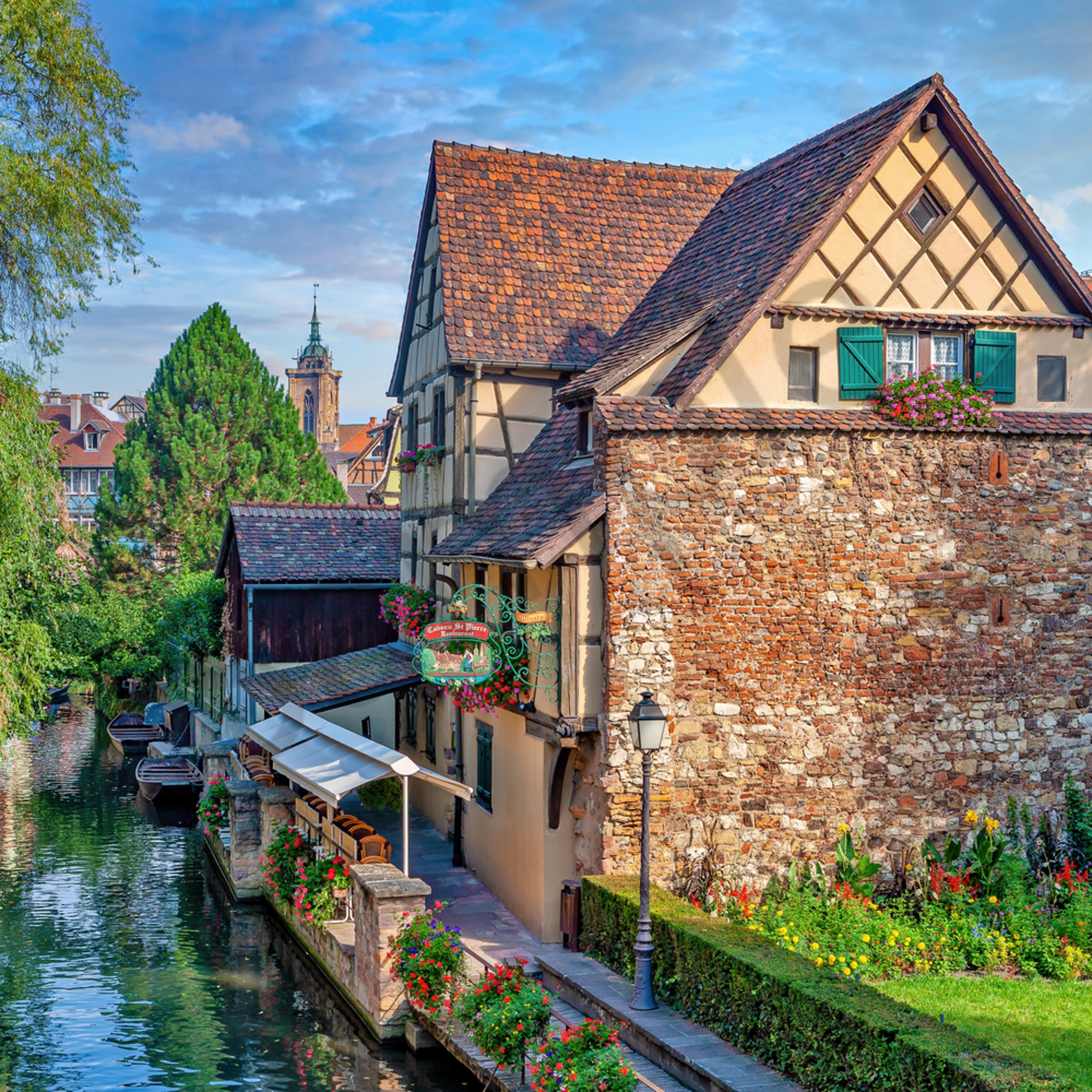 Overlooking canal in colmar france r4ocg0
